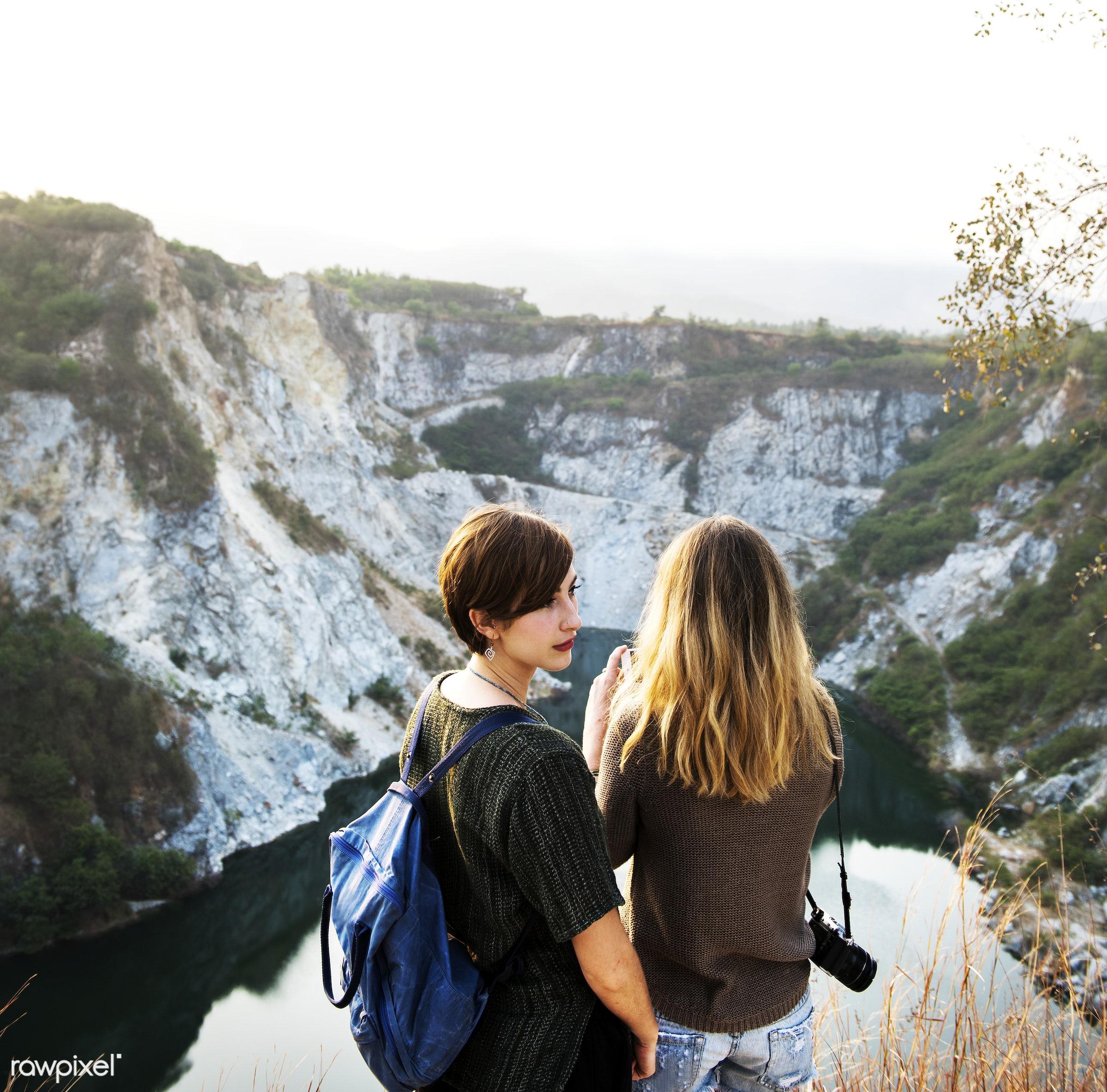 mountain, freedom, tranquil scene, girlfriends, travel, recreation, friends, nature, friendship, girls, rear view, peaceful...