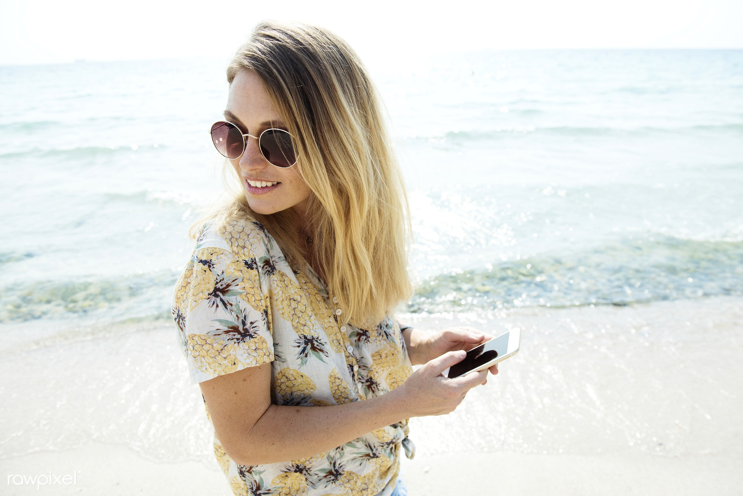shore, freedom, tranquil scene, ocean, beach, travel, recreation, girl, nature, woman, mobile phone, smiling, connection,...