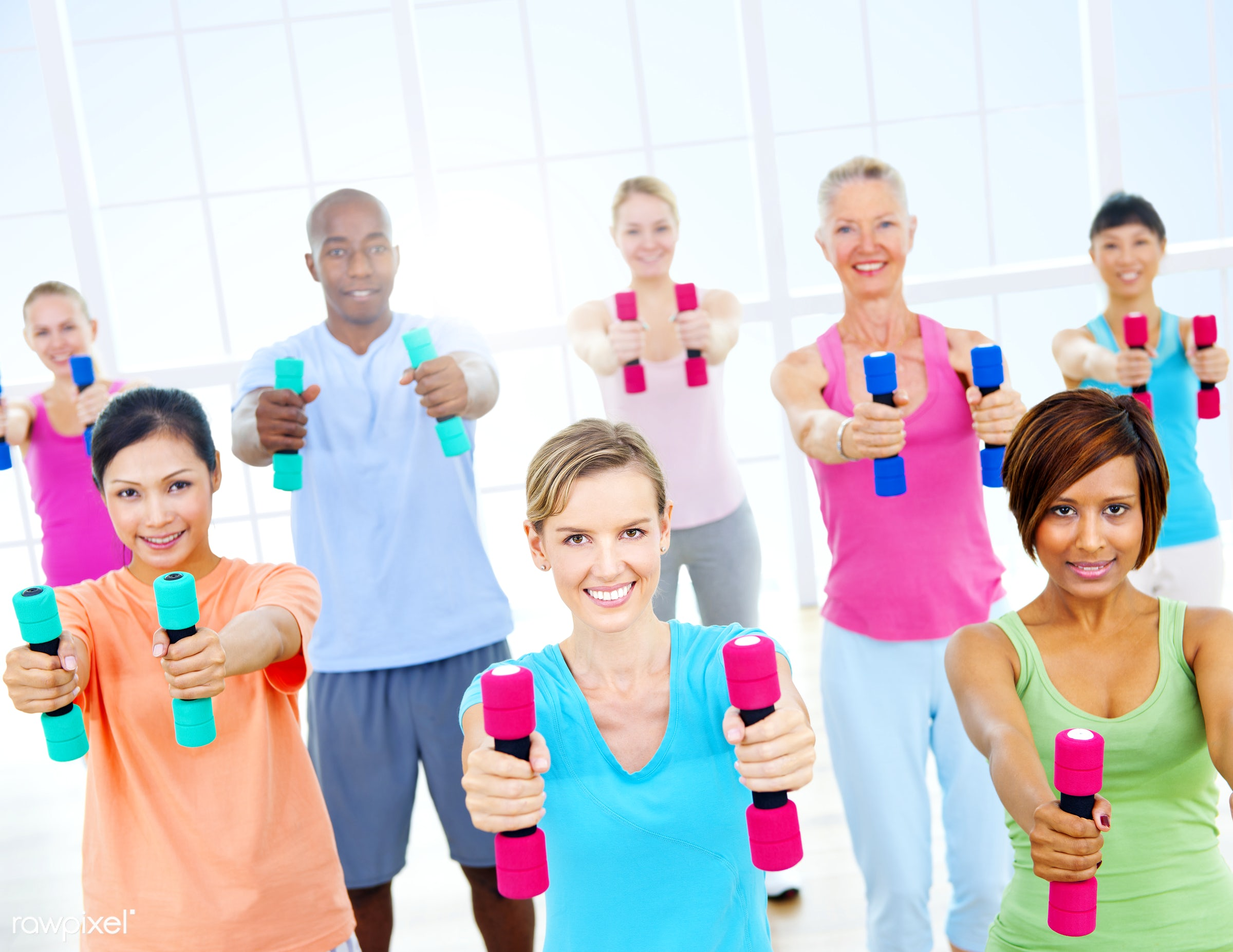 action, adult, aerobics, african descent, arms outstretched, asian ethnicity, balance, body care, caucasian, cheerful,...