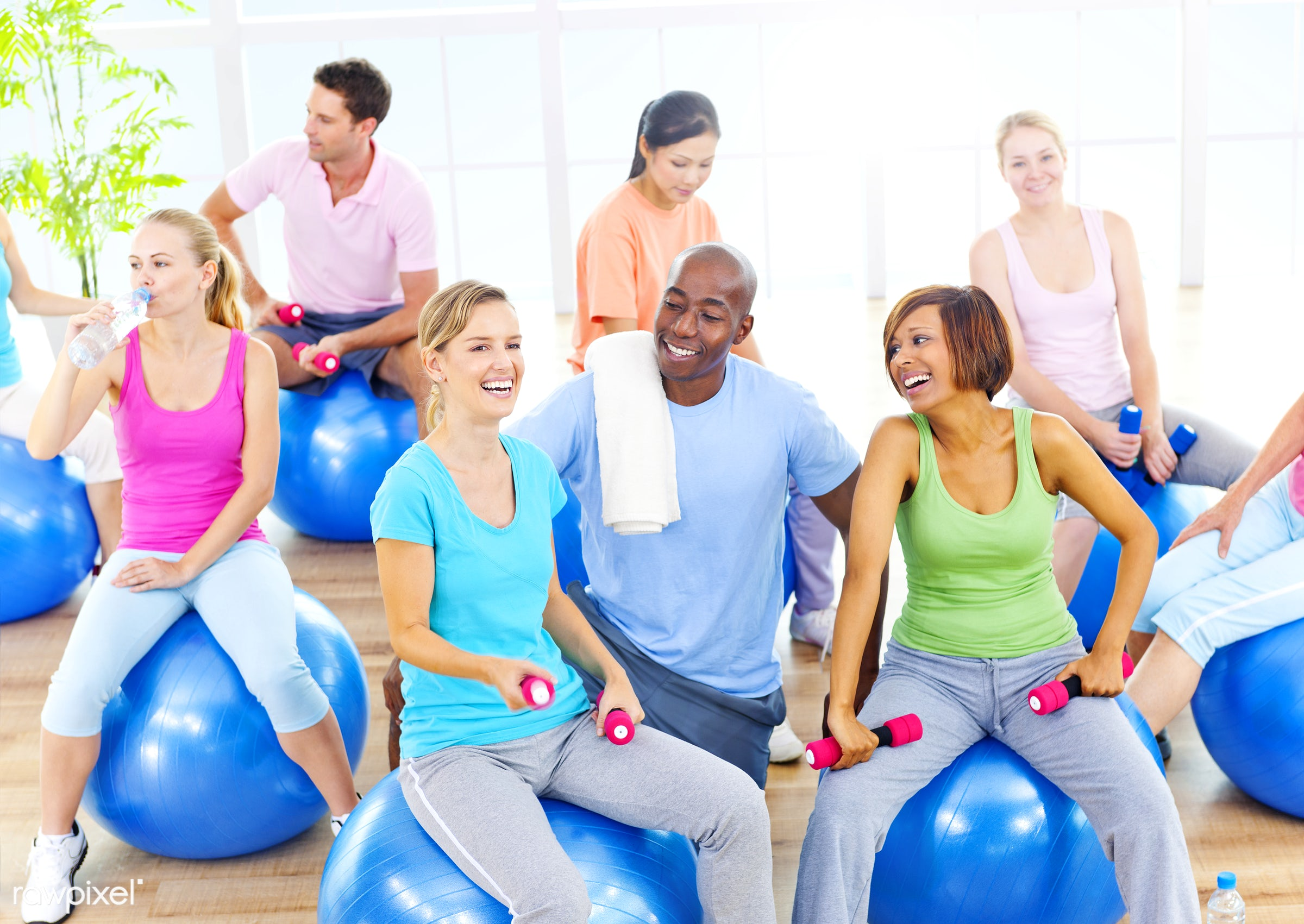 Diverse group of adults exercising  - action, adult, african descent, asian ethnicity, body care, caucasian, cheerful,...