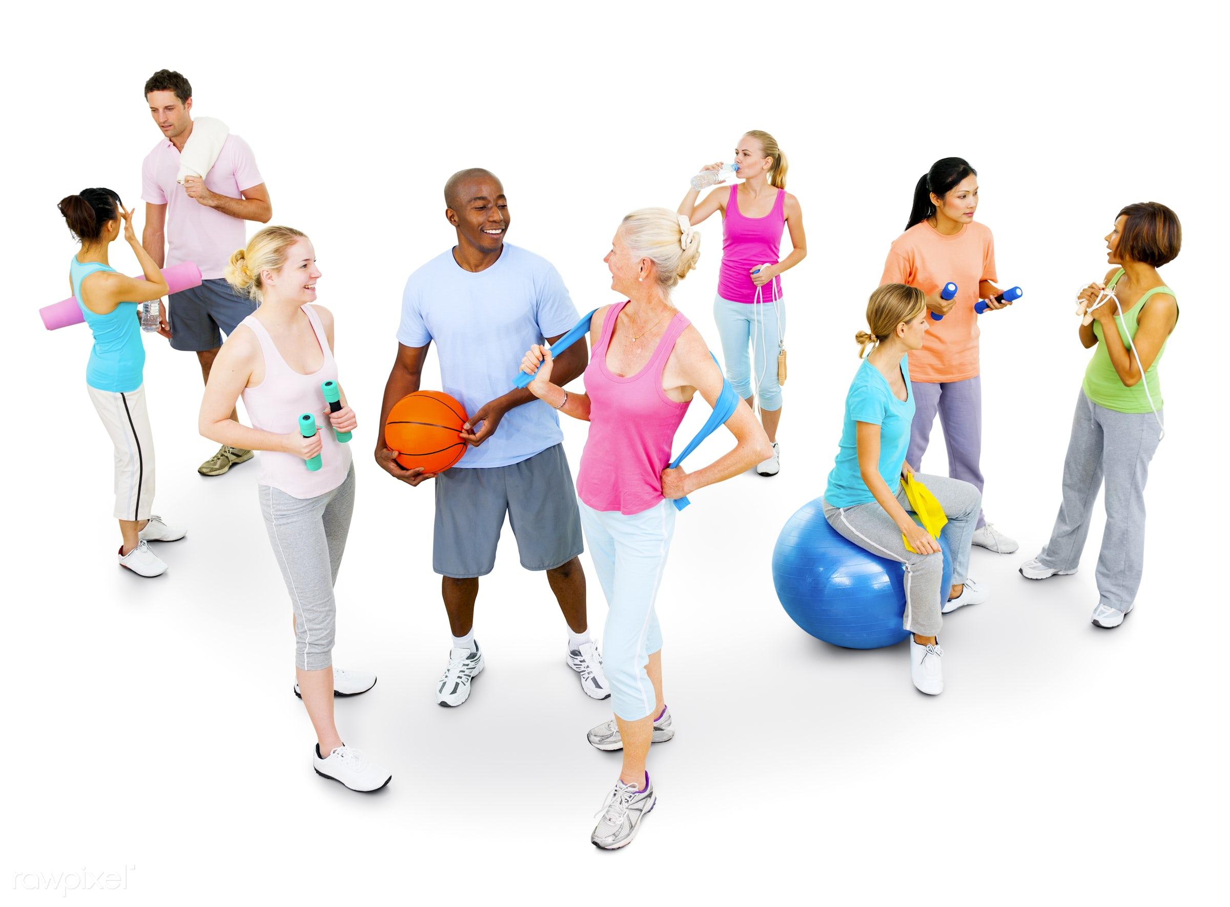 caucasian, active, activity, adult, aerobics, athlete, athletic, ball, cheerful, dumbbell, enjoyment, equipment, exercise,...