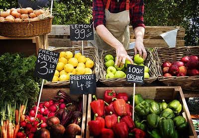 Download premium image of Greengrocer selling organic fresh agricultural