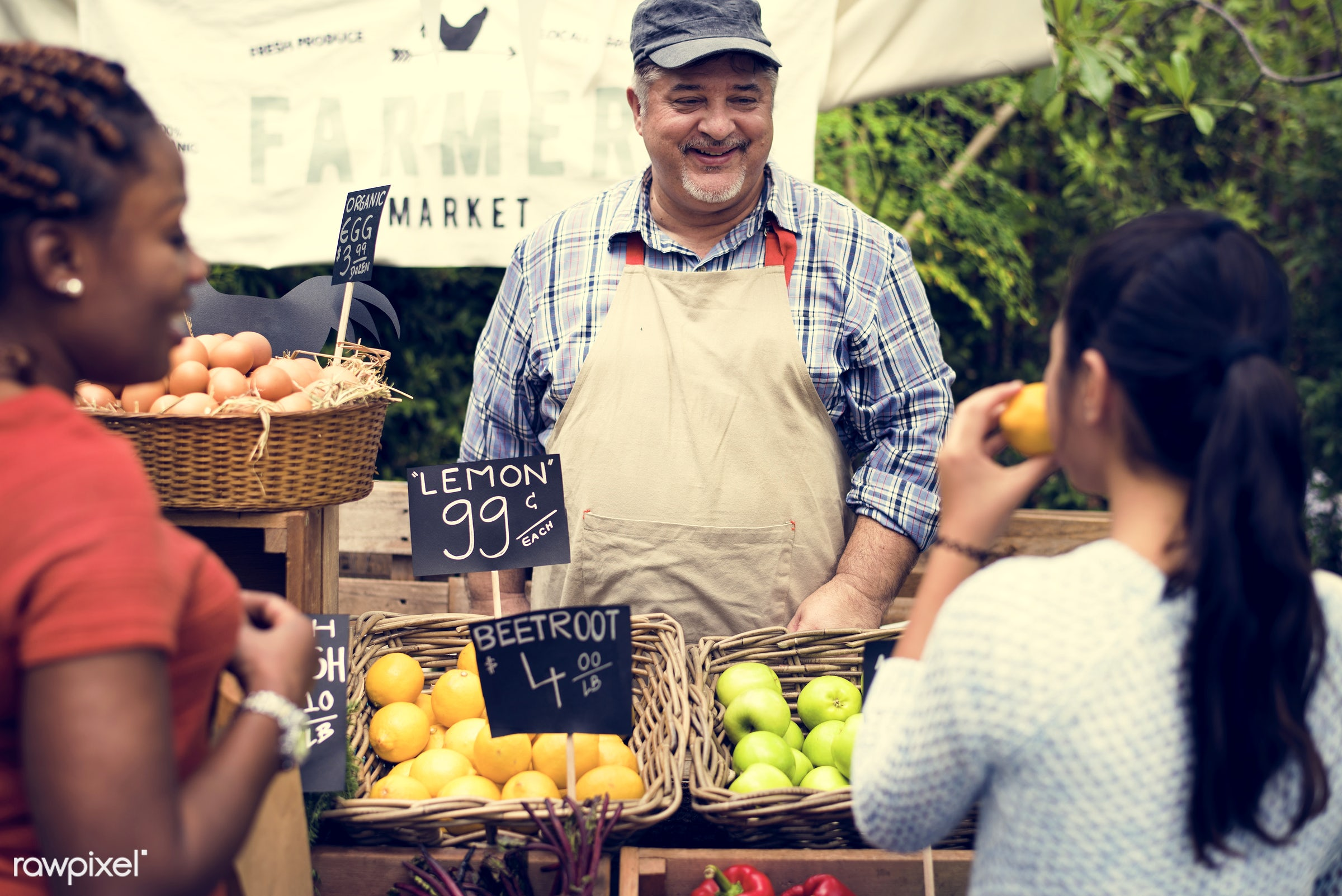 grocery, shop, nutritious, store, bell pepper, customer, egg, farmer, fresh, healthy eating, marketplace, cheerful, man,...