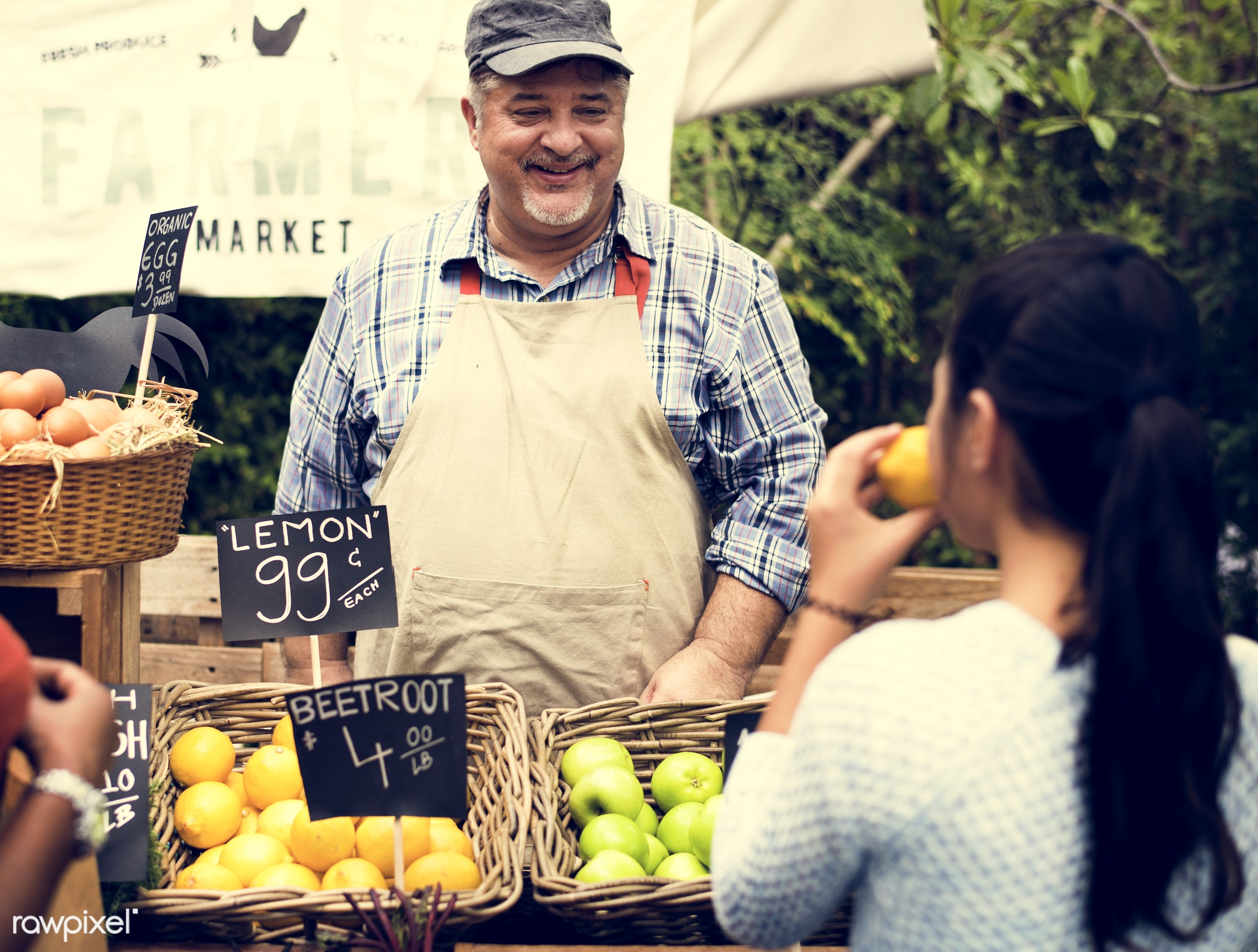 grocery, person, store, stall, customer, people, lifestyle, smiling, fruit, selling, health, nutrition, market, gardener,...