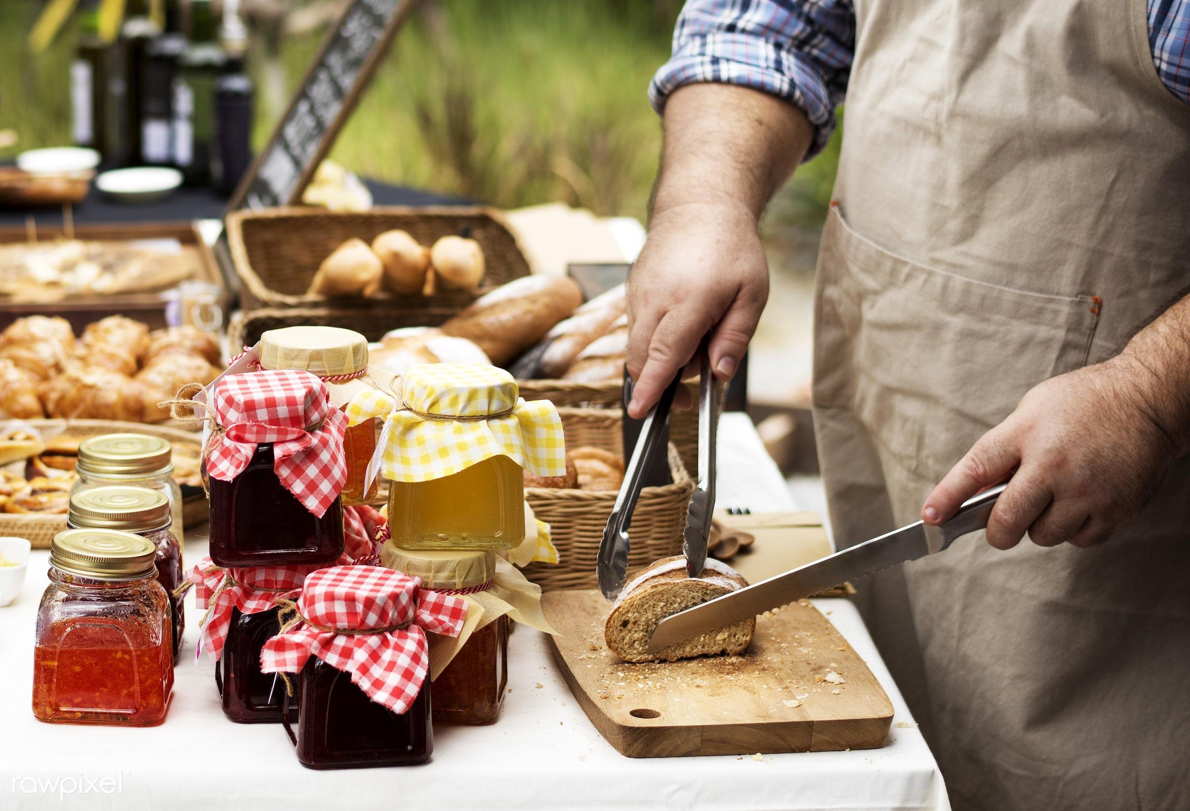 grocery, shop, cutout, cuisine, pastries, stall, bake, goods, homemade, baked, taste, bakery, fresh, bread, various, jam,...