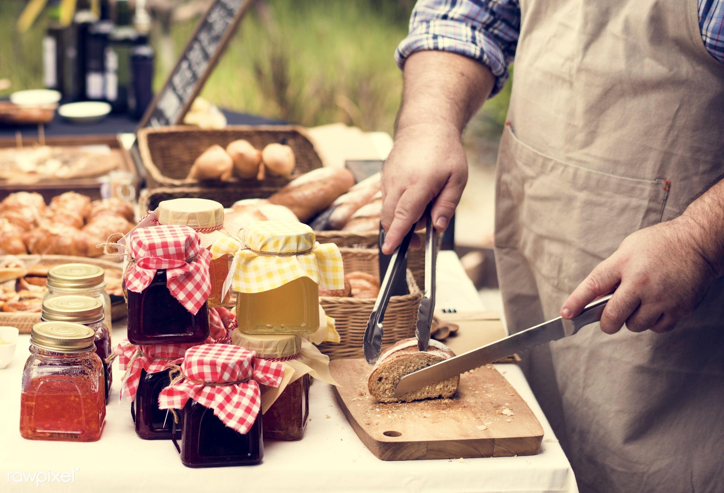 grocery, shop, cutout, pastries, cuisine, stall, bake, goods, homemade, baked, taste, bakery, fresh, bread, various, jam,...