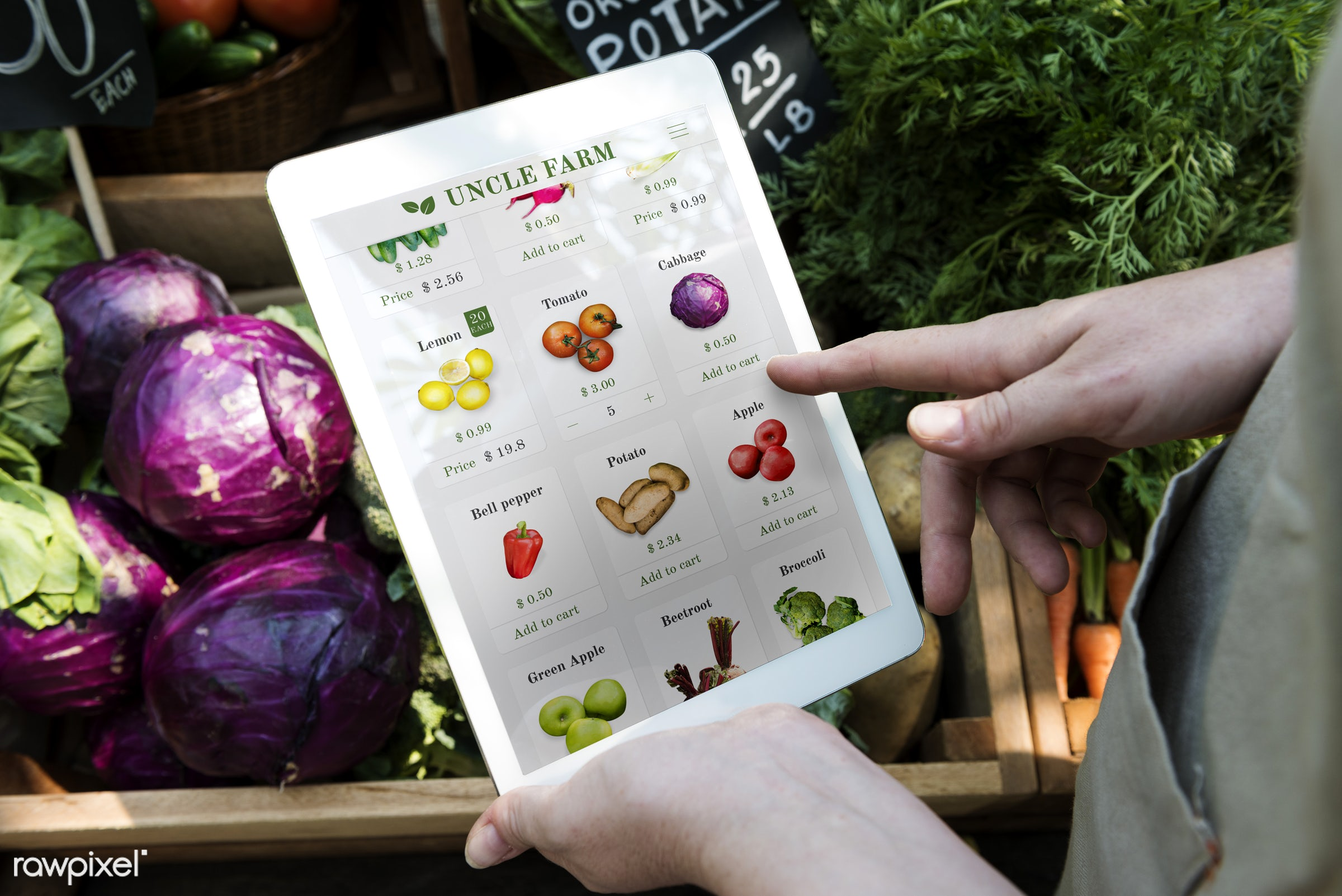 shop, person, technology, stall, bell pepper, consumer, people, farmer, e-commerce, choosing, choose, hold, display, cart,...