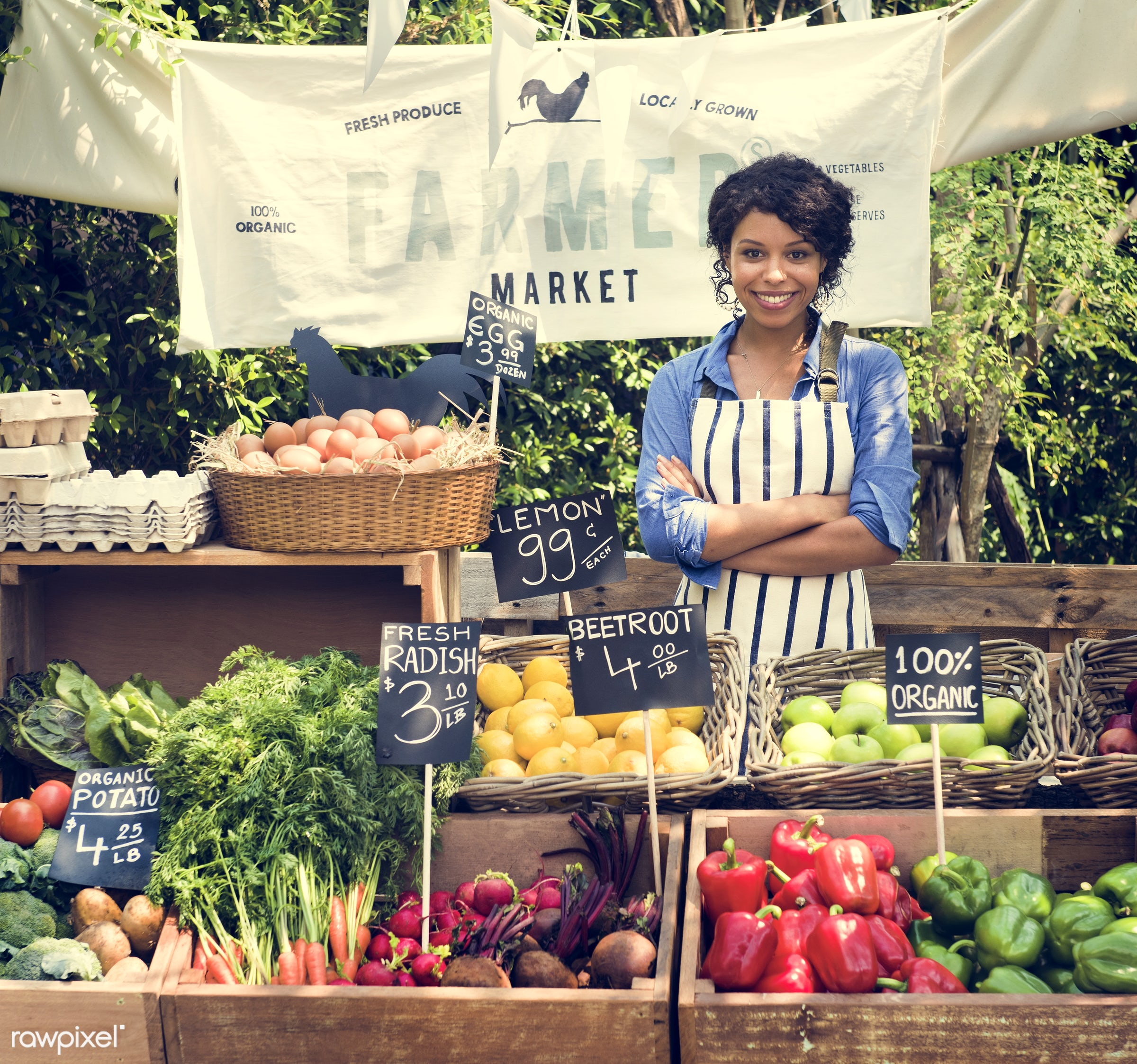grocery, shop, tomato, store, arms crossed, bell pepper, egg, farmer, woman, cheerful, smiling, fruit, african descent,...