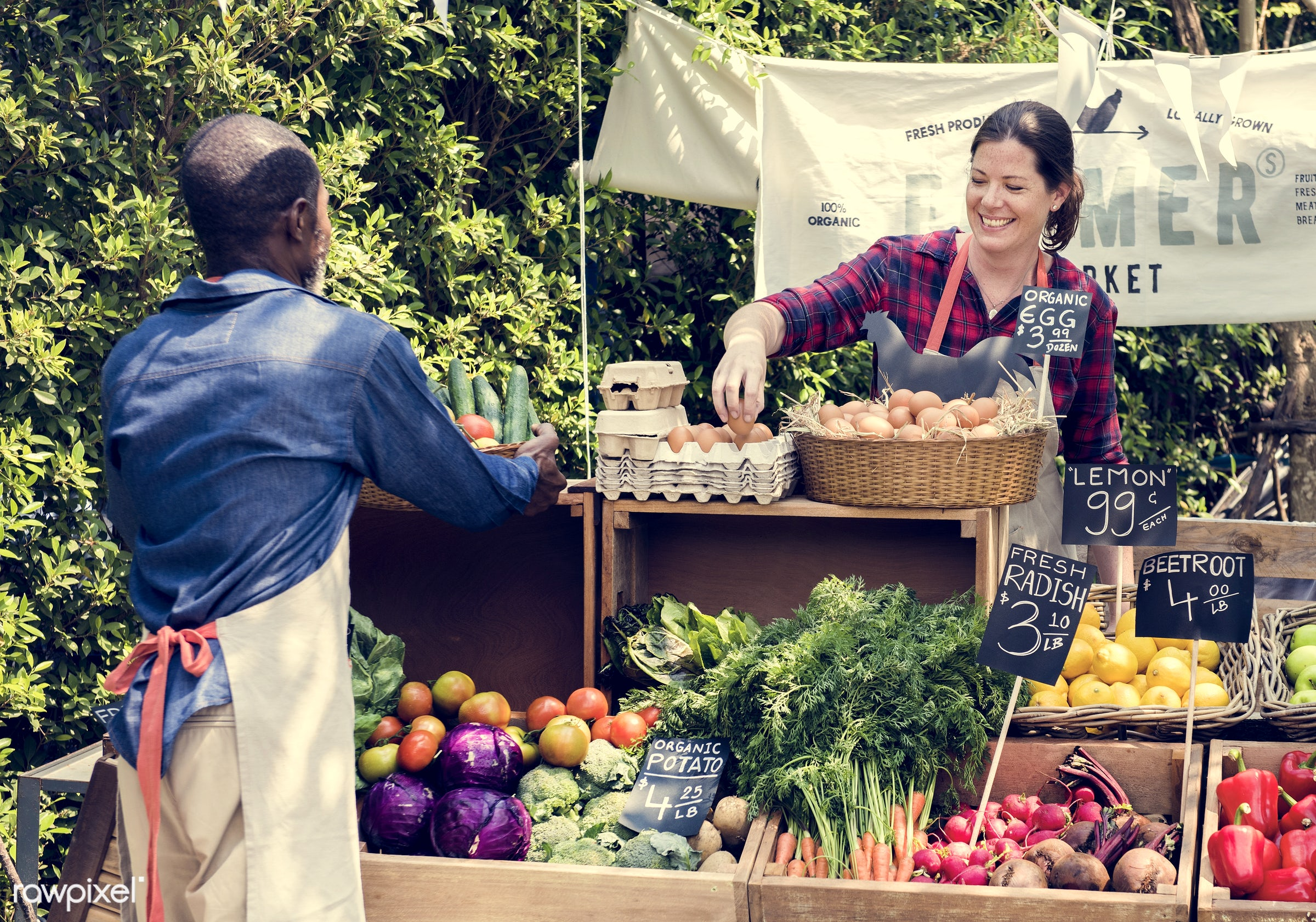 grocery, shop, tomato, store, bell pepper, egg, farmer, woman, cheerful, smiling, fruit, african descent, agriculture,...