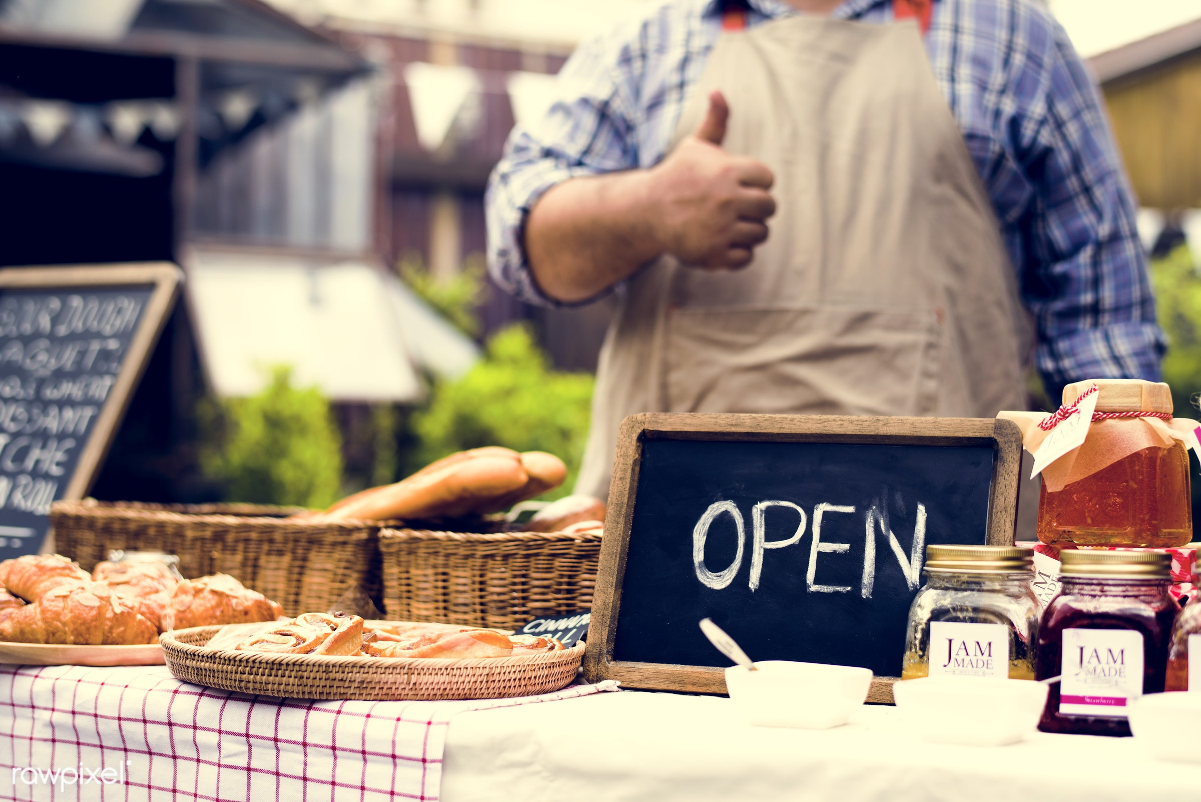 grocery, shop, cutout, person, stall, cuisine, pastries, test, homemade, people, taste, open, bakery, bread, jam, gourmet,...