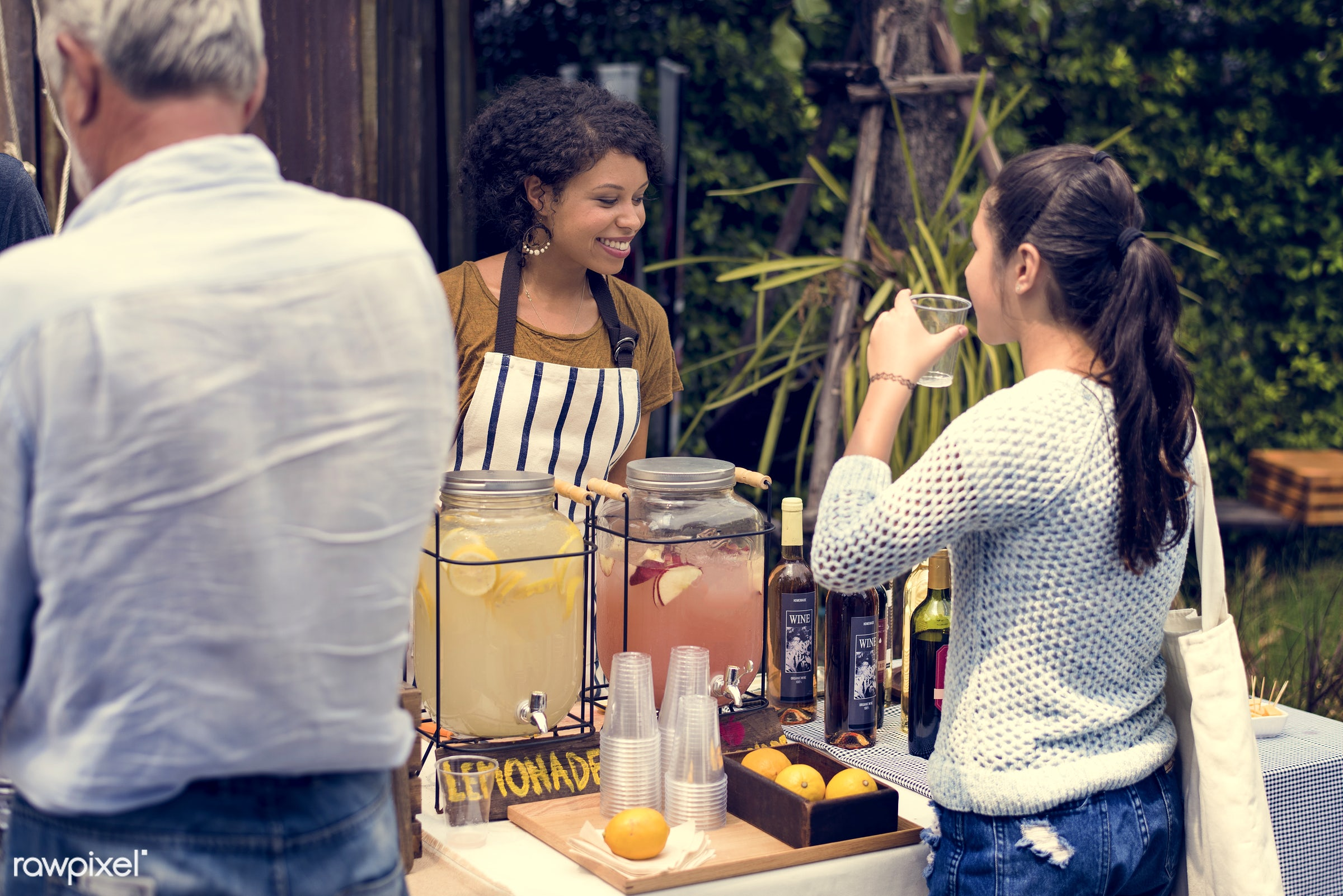 cup, shop, person, stall, test, customer, consumer, homemade, taste, people, open, paper cup, woman, lemonade, juice, drink...