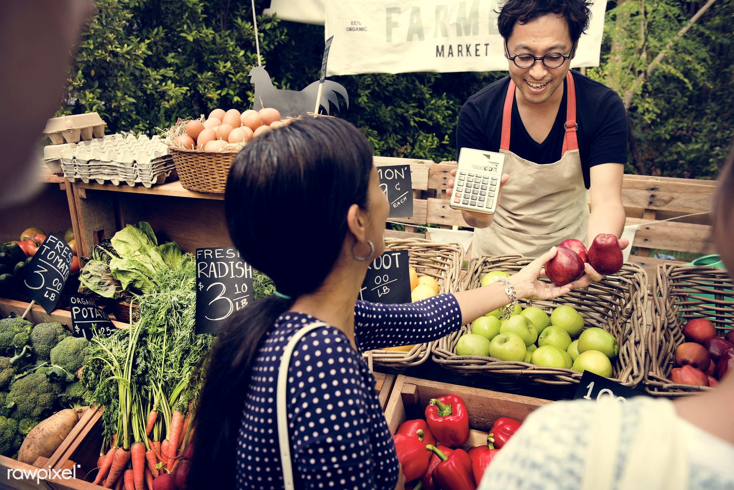 grocery, shop, store, tomato, bell pepper, egg, customer, farmer, woman, cheerful, smiling, fruit, selling, agriculture,...