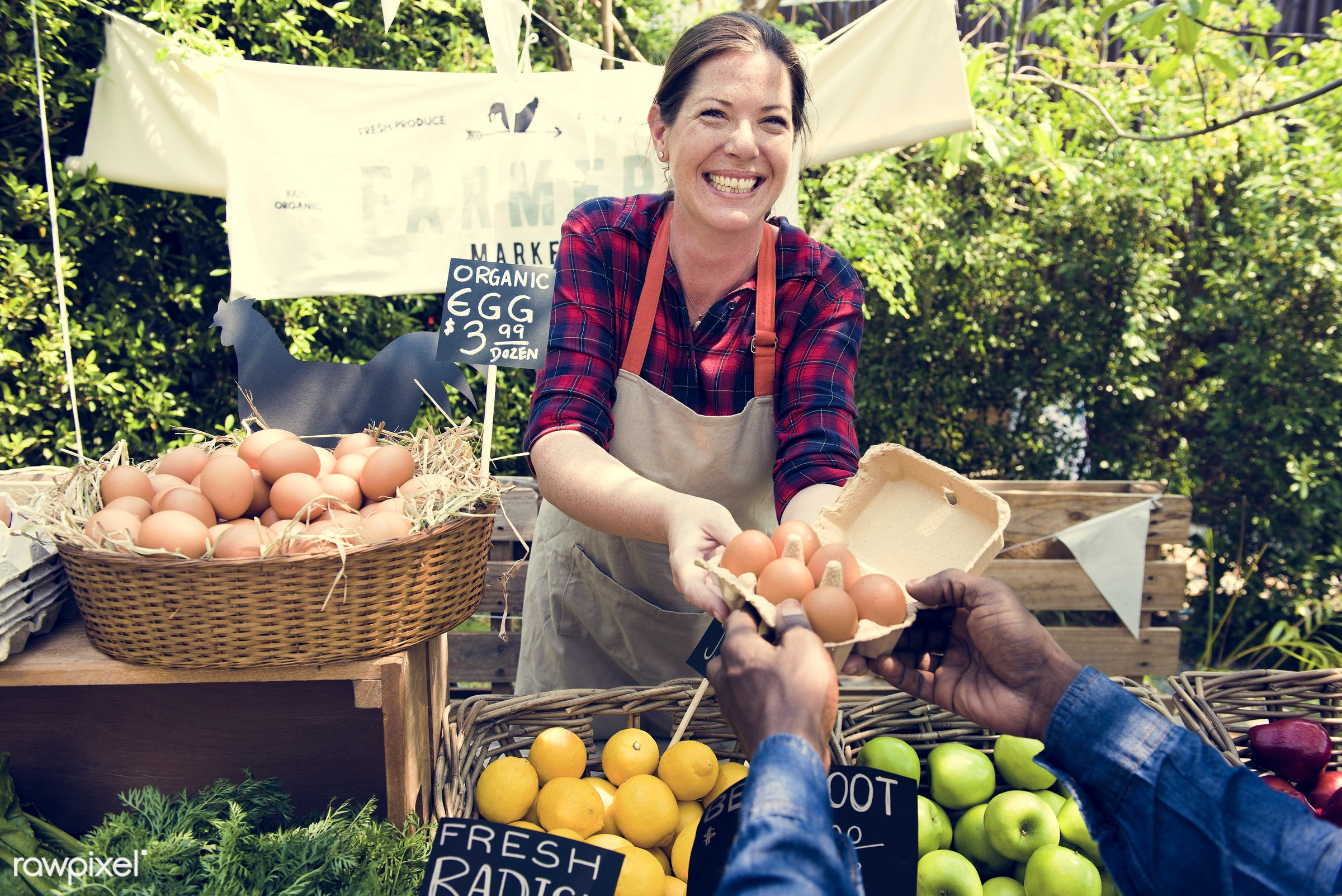 grocery, shop, nutritious, store, customer, egg, farmer, fresh, woman, healthy eating, marketplace, cheerful, man, smiling,...