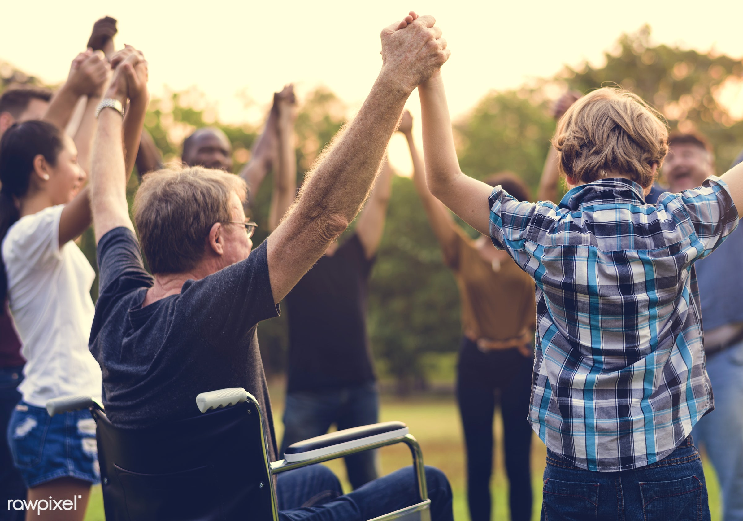 countryside, diverse, bonding, neighbor, people, positivity, kid, cripple, friends, tree, nature, woman, lifestyle,...