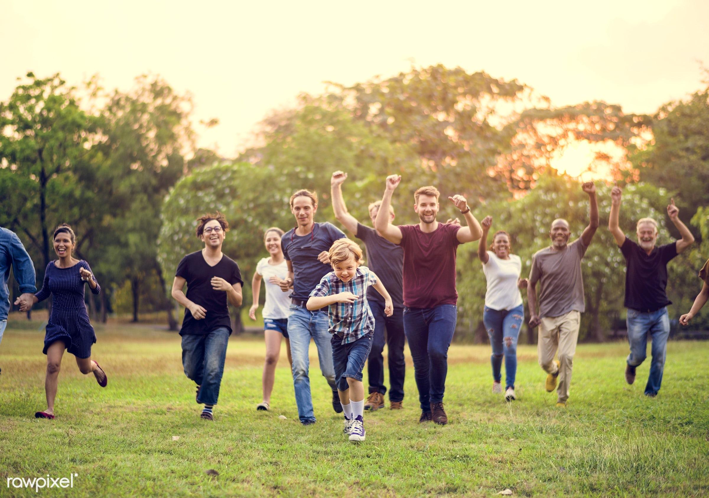 countryside, diverse, volunteer, cultures, bonding, neighbor, people, running, positivity, kid, friends, tree, nature, woman...