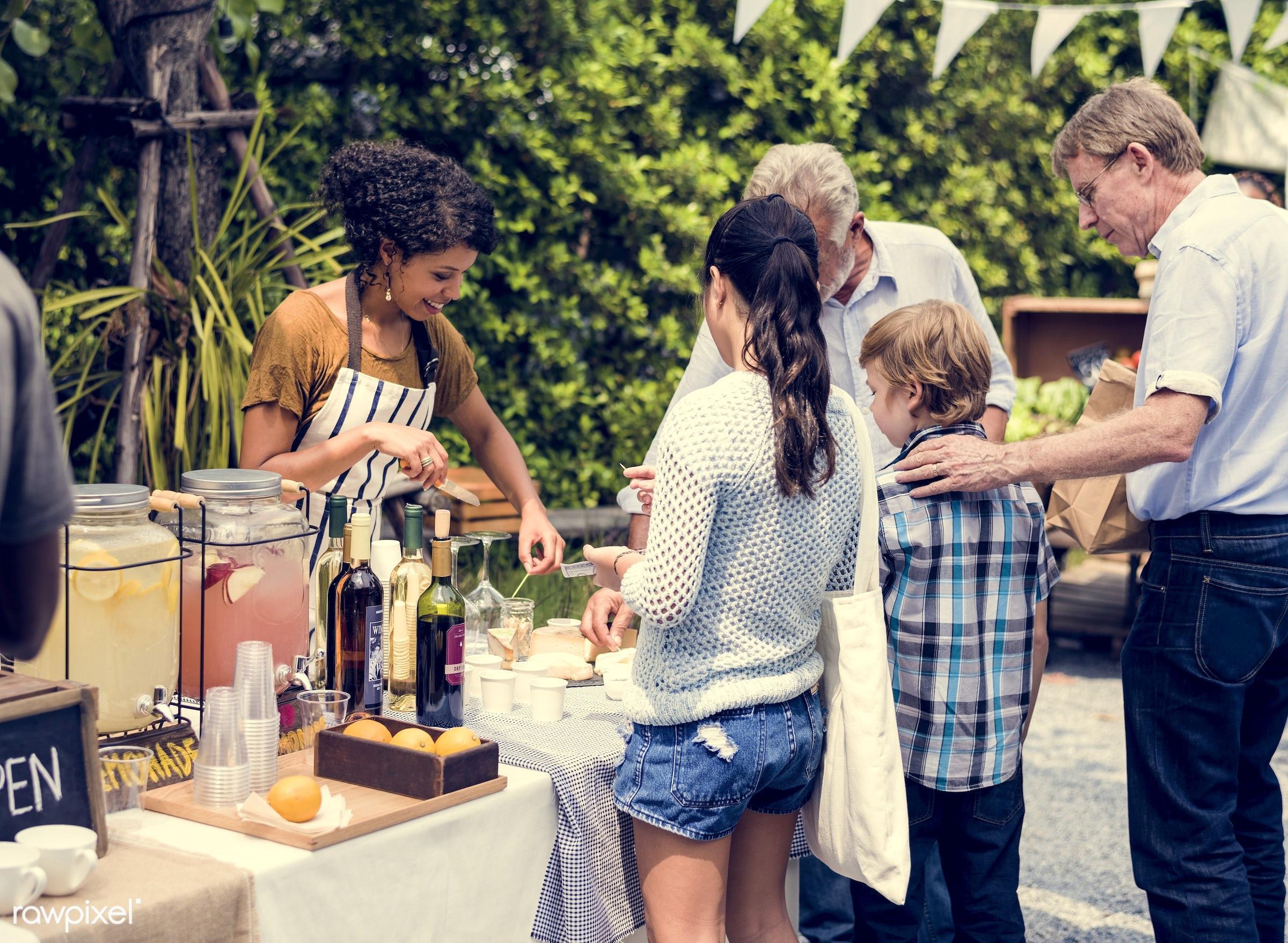 shop, nutritious, customer, drinks, people, farmer, fresh, jar, juice, lemonade, juice stand, tank, refresh, fruit, selling...