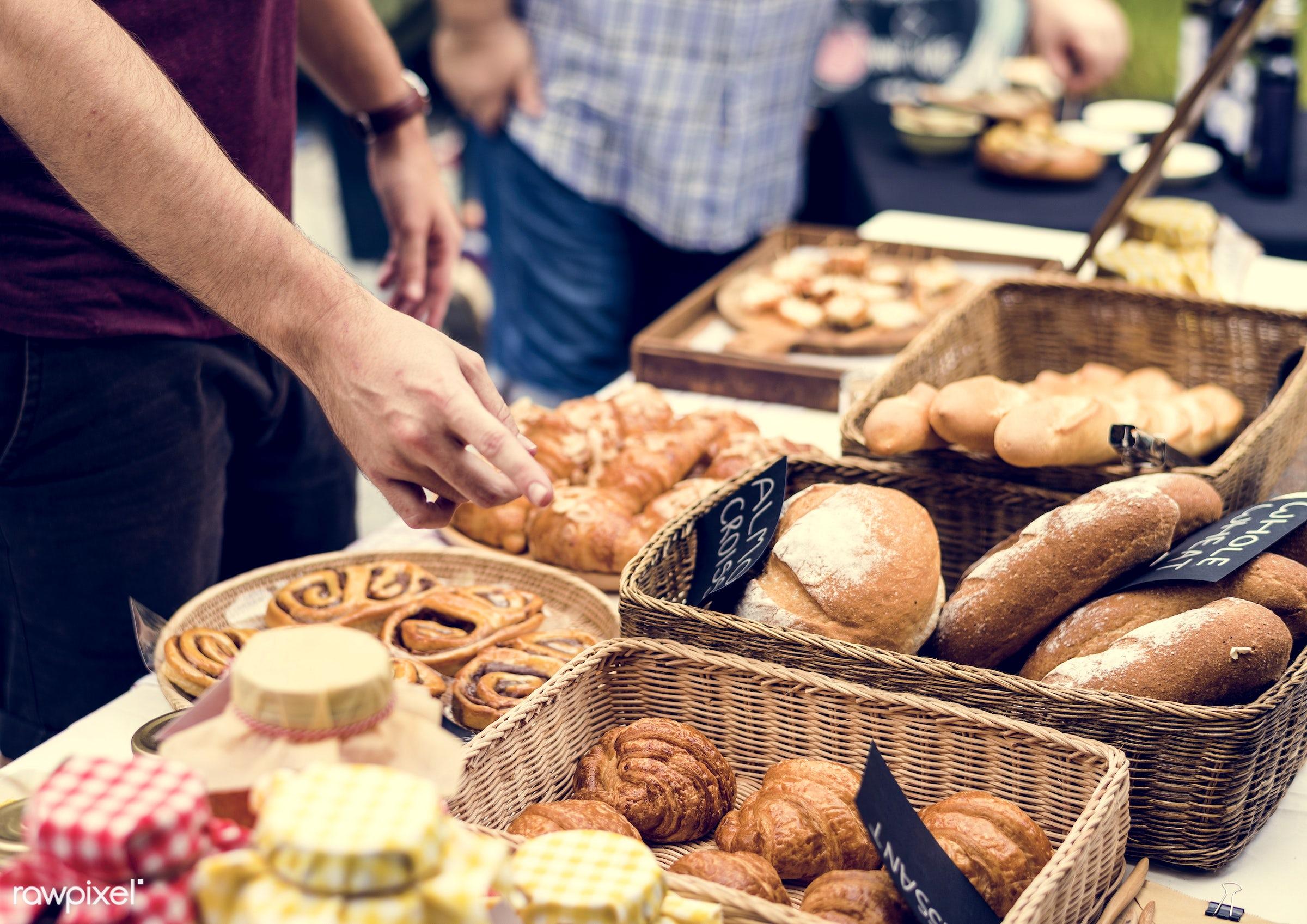grocery, shop, cutout, cuisine, pastries, stall, bake, goods, homemade, baked, taste, bakery, fresh, bread, various,...