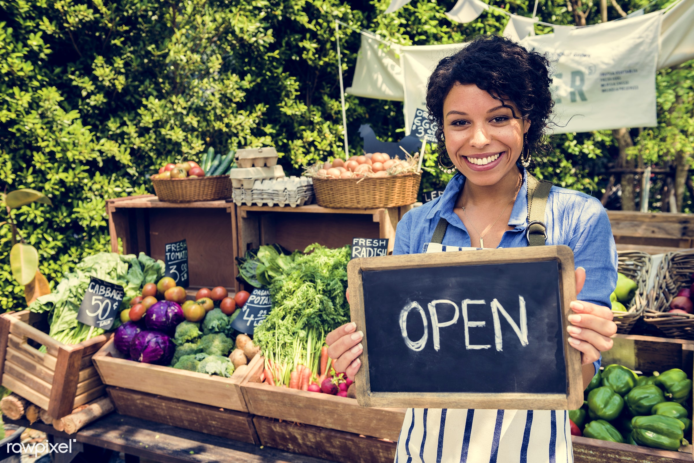 grocery, shop, tomato, store, holding, bell pepper, egg, open, farmer, woman, cheerful, smiling, fruit, african descent,...