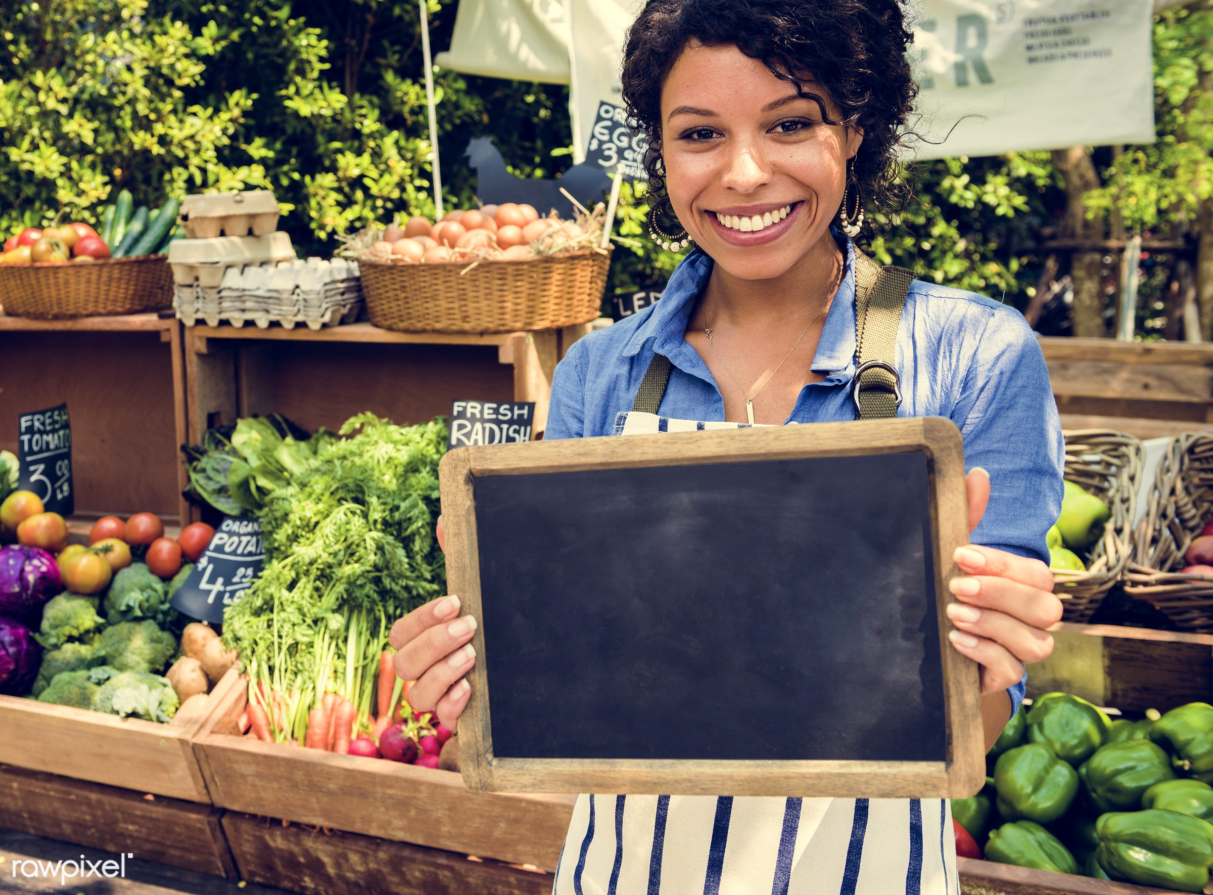 grocery, shop, tomato, store, holding, bell pepper, egg, farmer, woman, cheerful, smiling, fruit, african descent,...