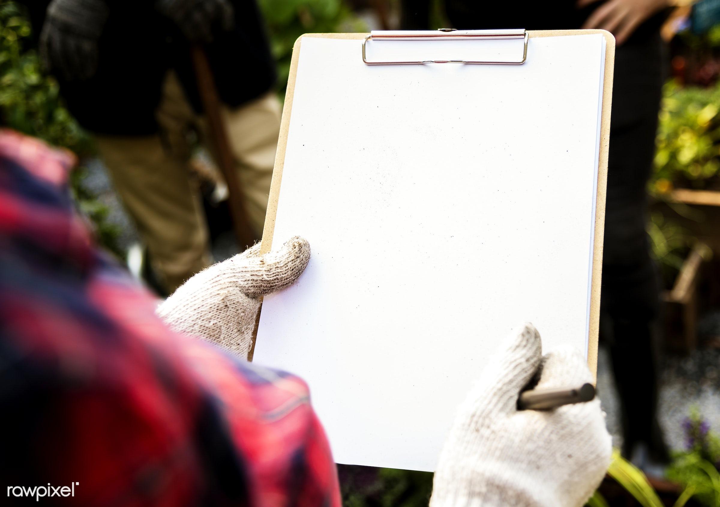 farmer, adult, agricultural, agriculture, backyard garden, blank, checking, checklist, clipboard, copy space, fresh,...