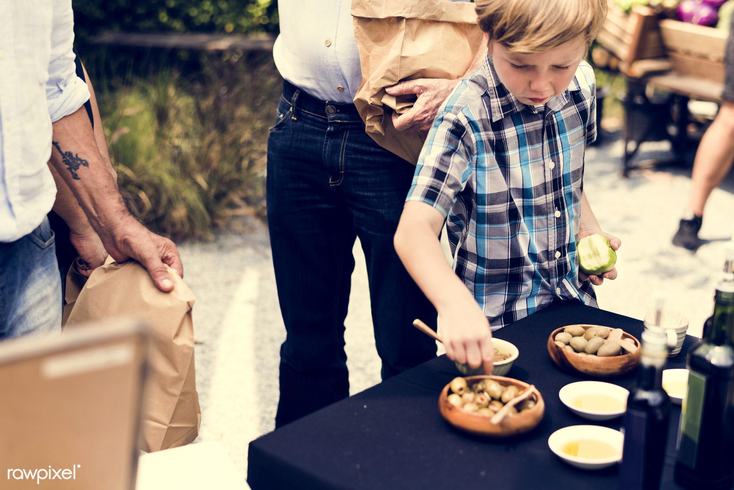 shop, person, cuisine, stall, goods, children, little, show, homemade, people, taste, toothpick, olive, preserve, oil, kid,...
