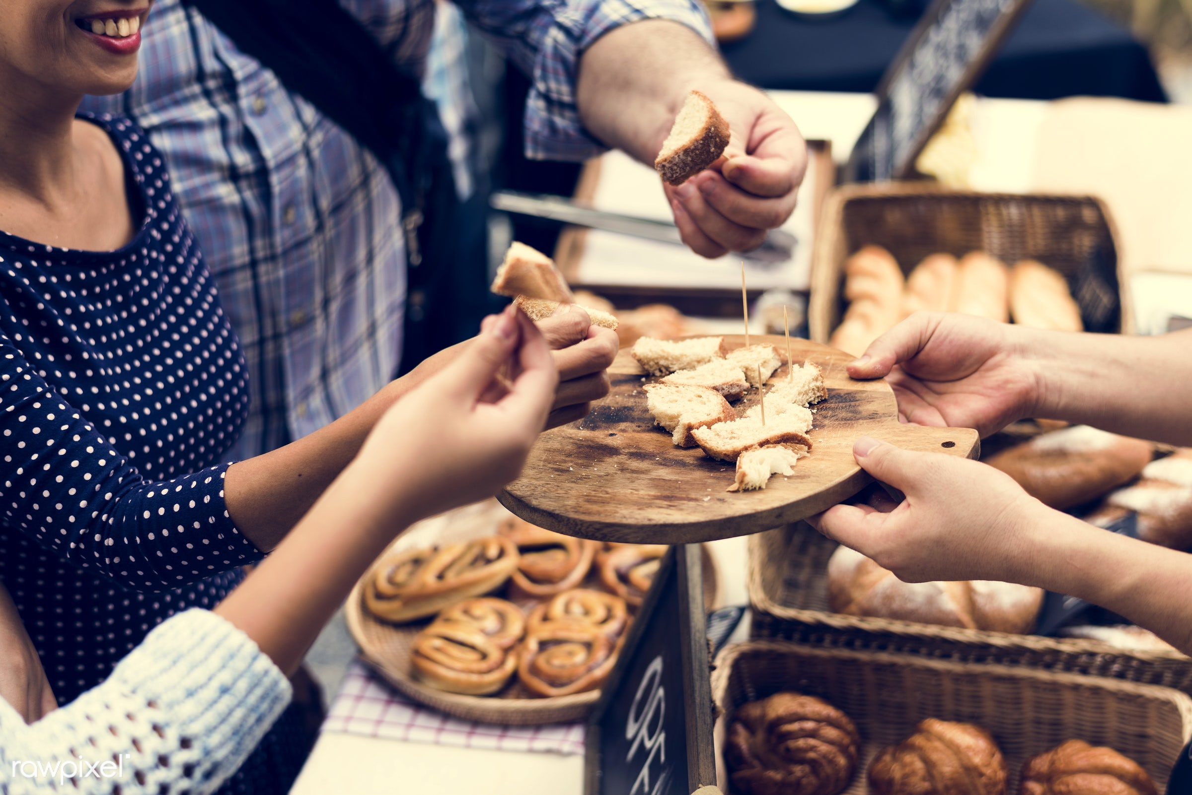 grocery, shop, cutout, person, stall, cuisine, pastries, test, show, homemade, people, taste, toothpick, bakery, bread,...