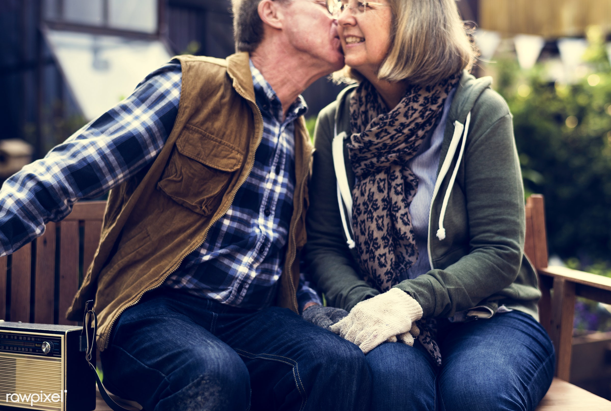 expression, person, bench, relax, holding, people, together, love, break, kiss, retirement, nature, family, woman, backyard...
