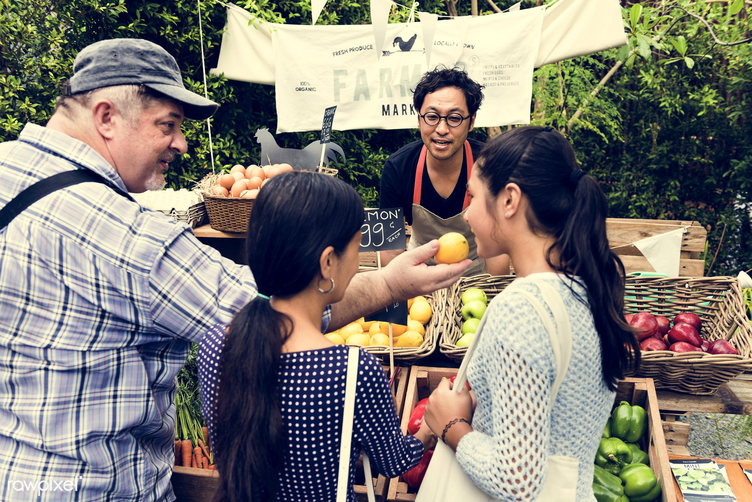 grocery, shop, carrot, nutritious, store, bell pepper, egg, asian ethnicity, farmer, fresh, healthy eating, men, marketplace...