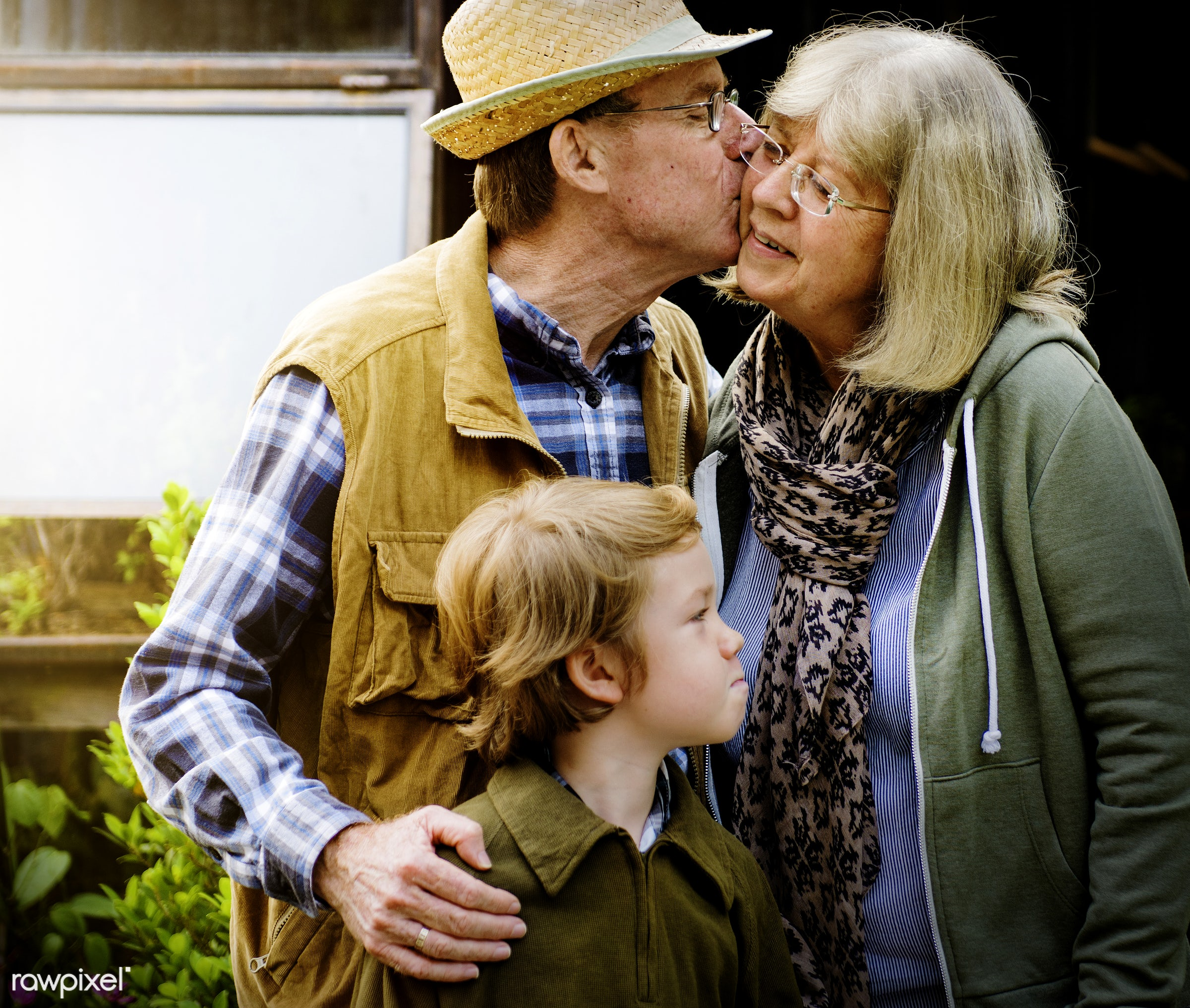 expression, person, grandfather, show, smitten, people, together, kid, grandchild, love, kiss, retirement, cherish, family,...