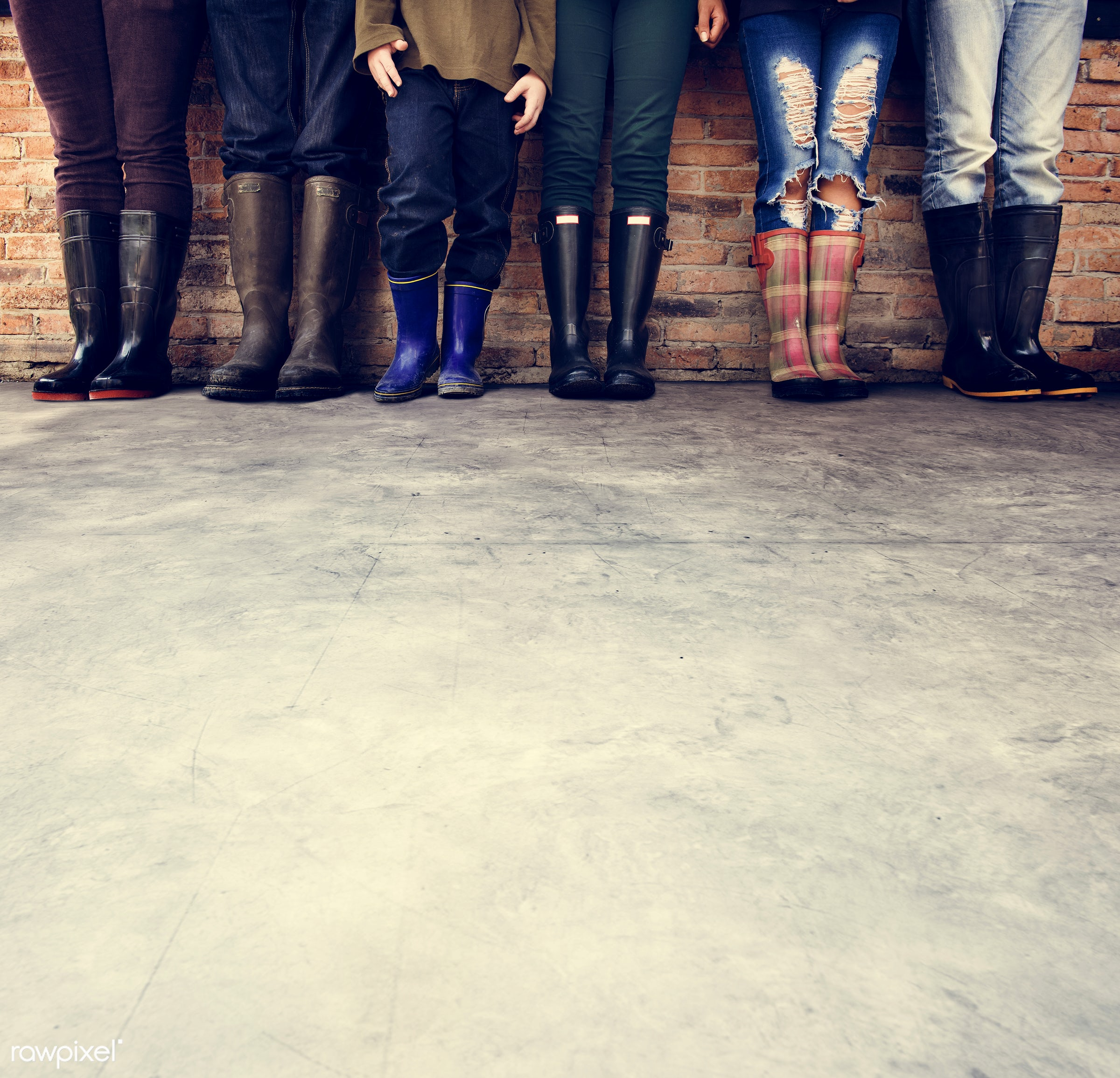 copy space, brick wall, brick, children, people, human leg, family, men, boots, concrete floor, blank, in a row,...