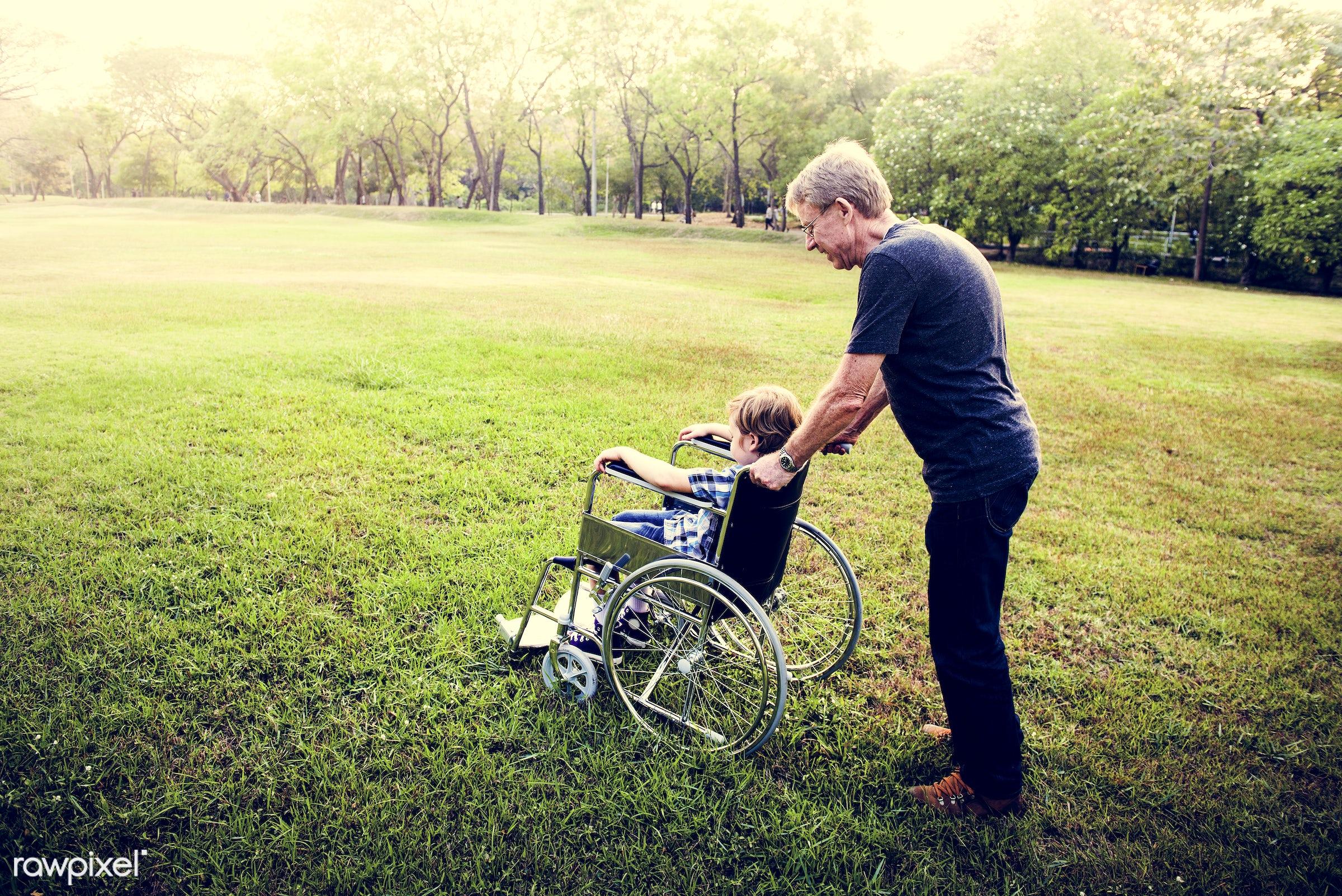person, grandfather, unhealthy, equipment, people, together, caucasian, kid, grandchild, family, care, grandchildren,...