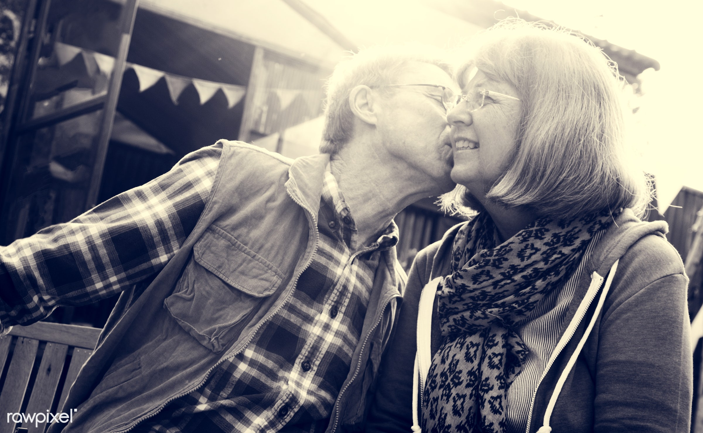 expression, person, grandfather, show, smitten, people, together, love, kiss, retirement, cherish, family, intimate, grandma...