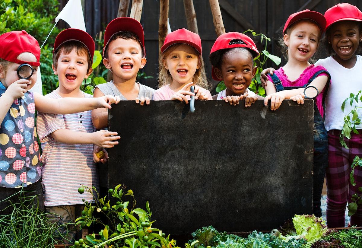 Diversity Group Of Kids Red Cap having Fun