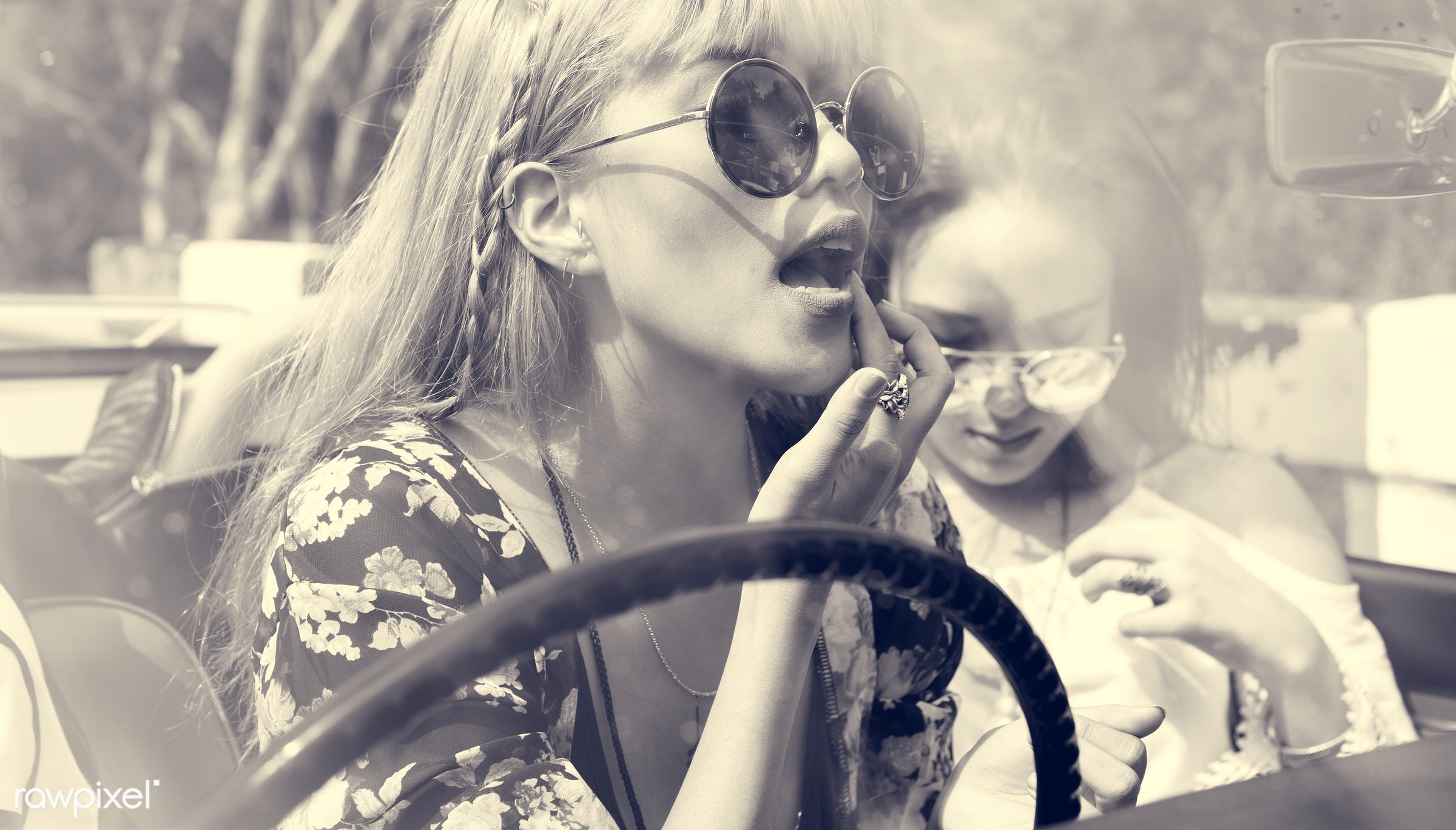 adult, adventure, attractive, beauty, car, down, female, front seat, gypsy, hippy, hipster, journey, joyful, leisure, life,...