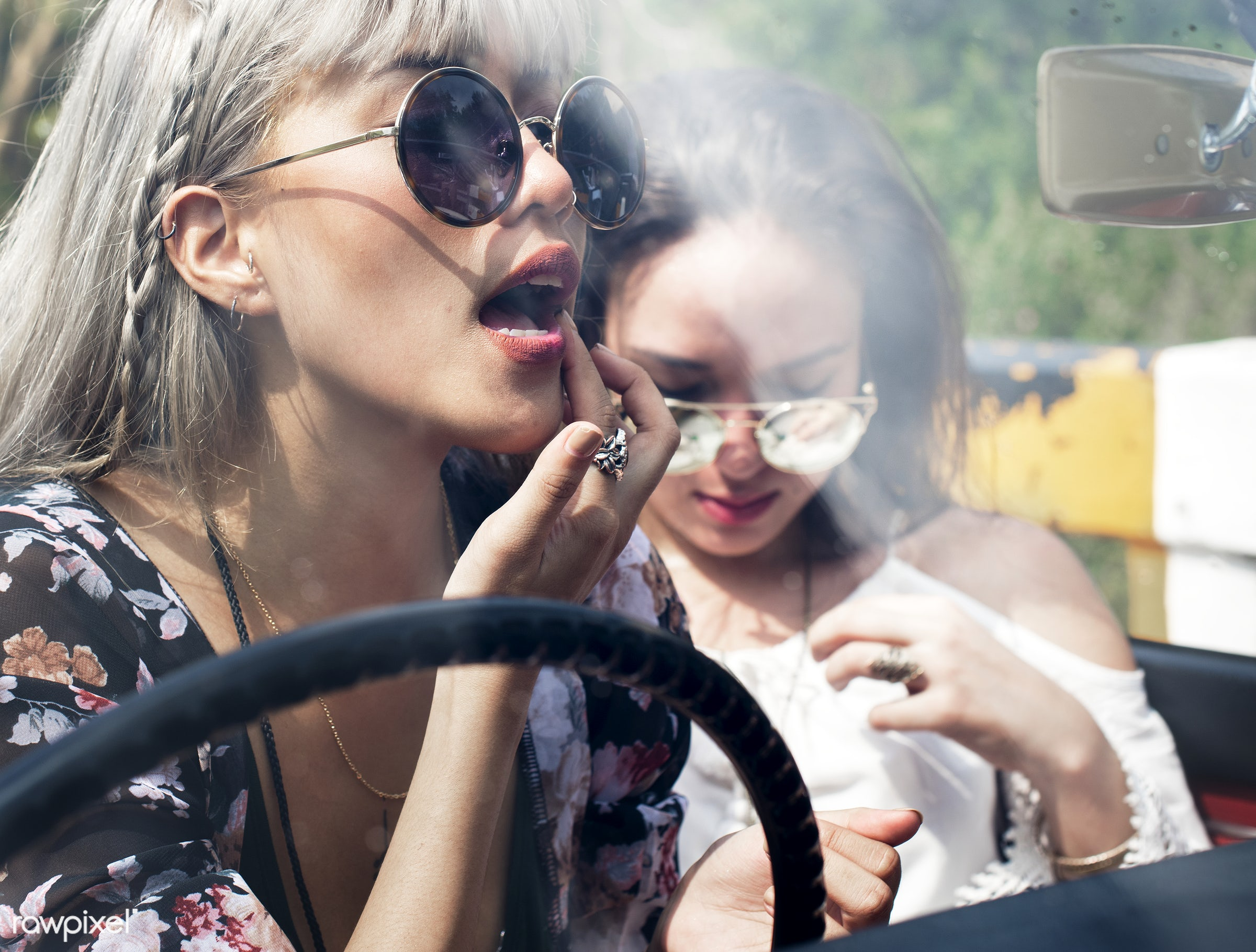 make up, gypsy, adult, adventure, attractive, beauty, car, down, female, front seat, hippy, hipster, journey, joyful, lay,...