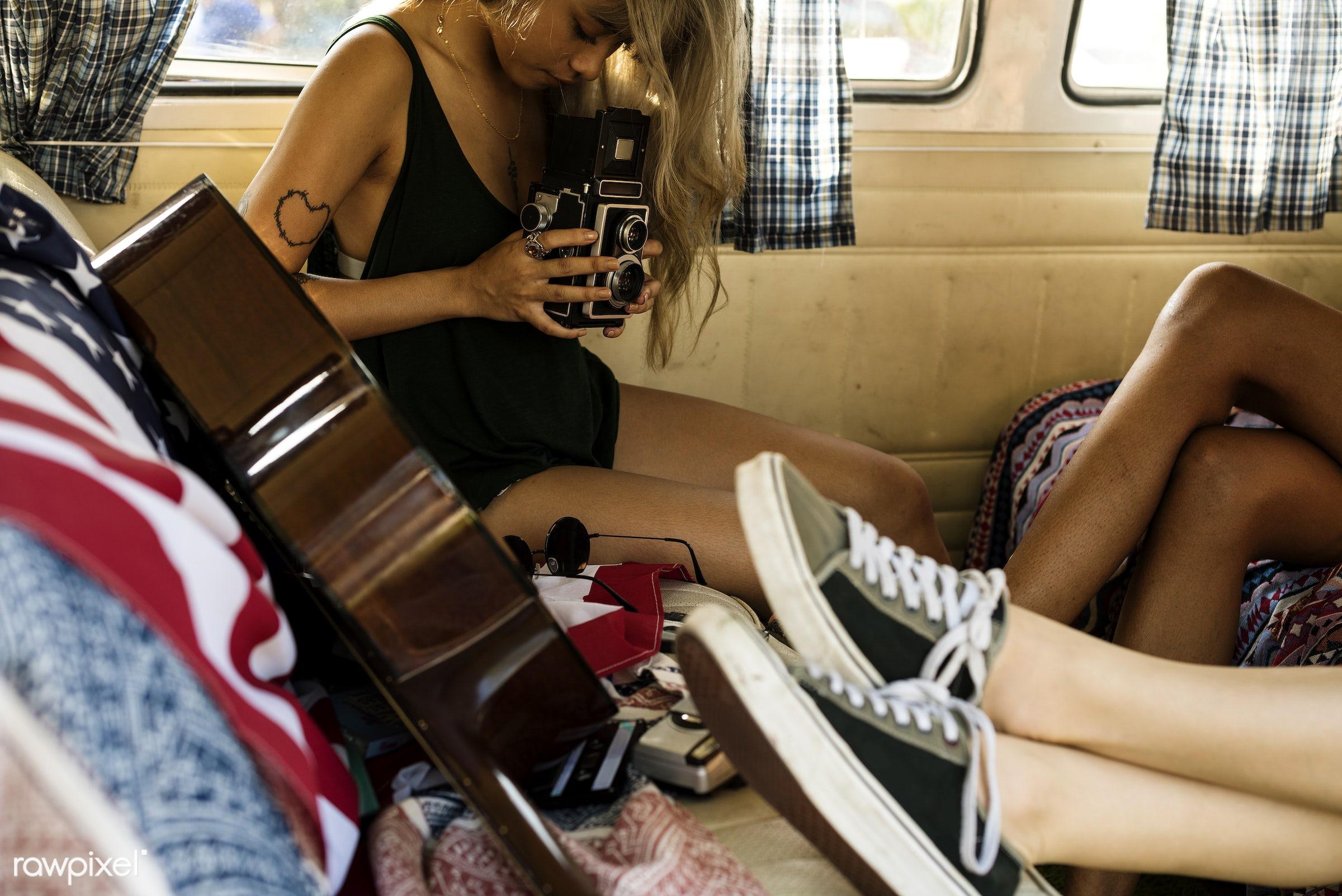 adult, adventure, america, american, american flag, attractive, beauty, camera, car, female, flag, guitar, gypsy, hippy,...