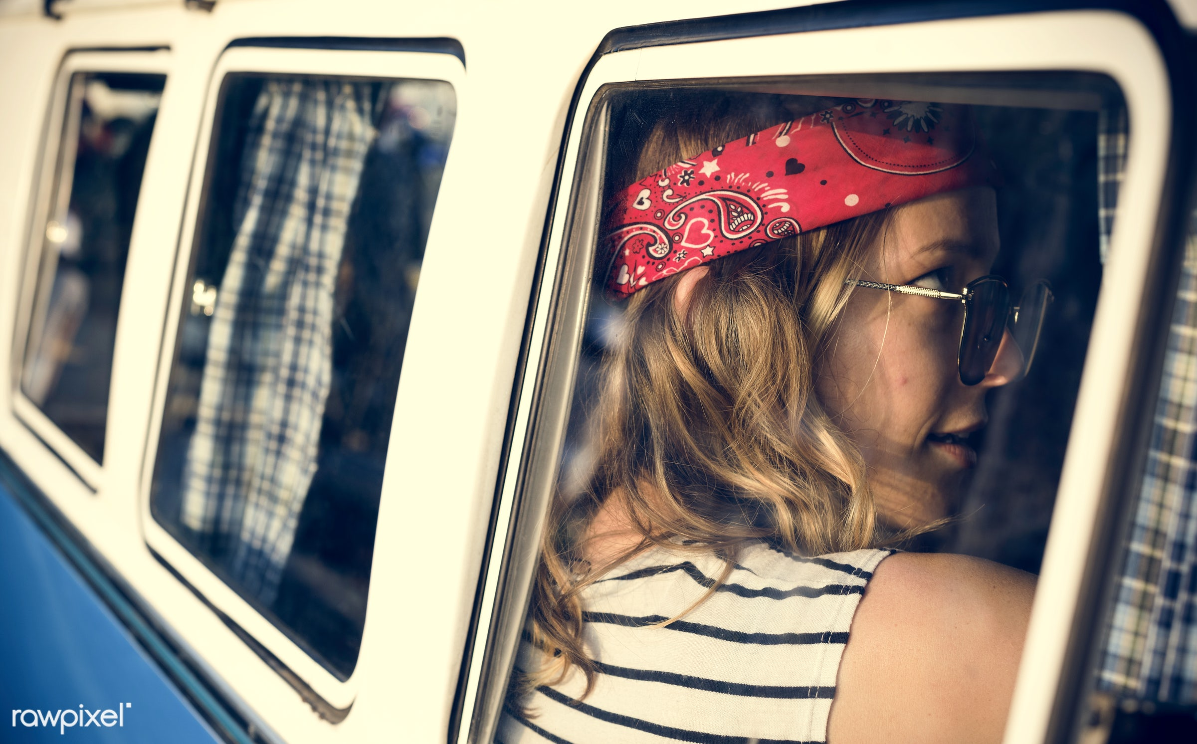 adult, adventure, attractive, beauty, car, down, female, front seat, gypsy, hippy, hipster, journey, joyful, lay, leisure,...