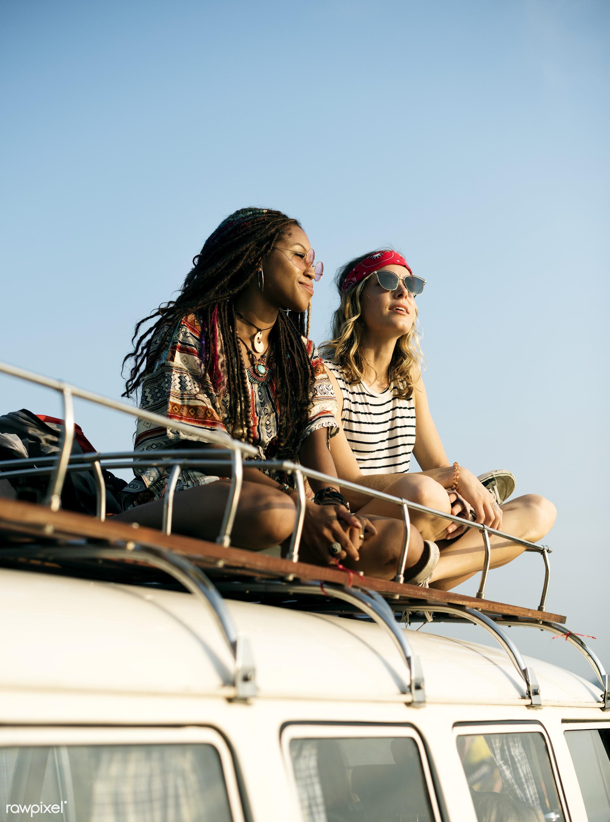 van, adult, adventure, diversity, enjoy, enjoyment, female, friends, friendship, fun, group, happiness, happy, hippy,...