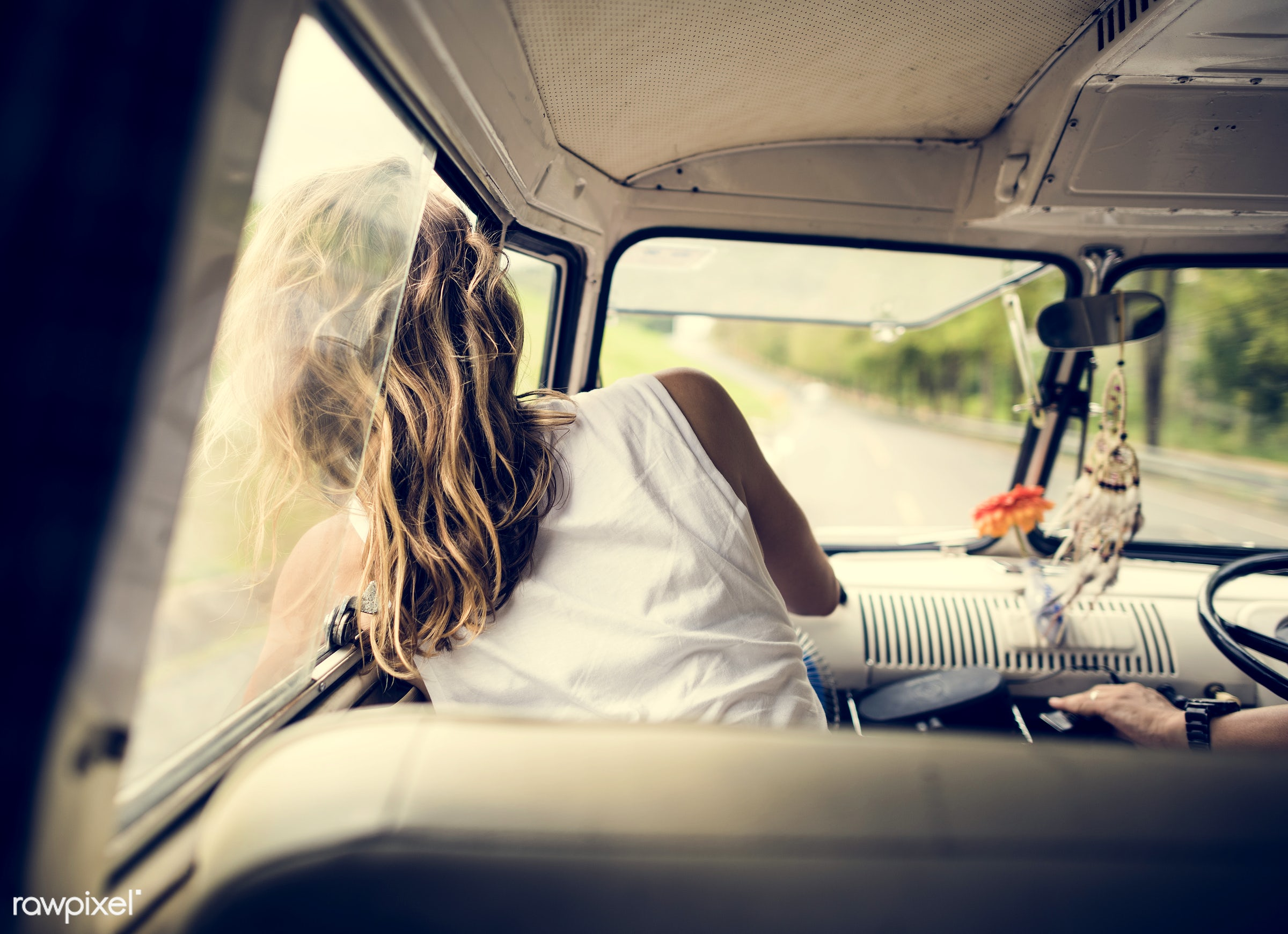 adult, adventure, attractive, beauty, blow, blowing, car, enjoy, enjoyment, female, front seat, fun, hair, happiness, head,...