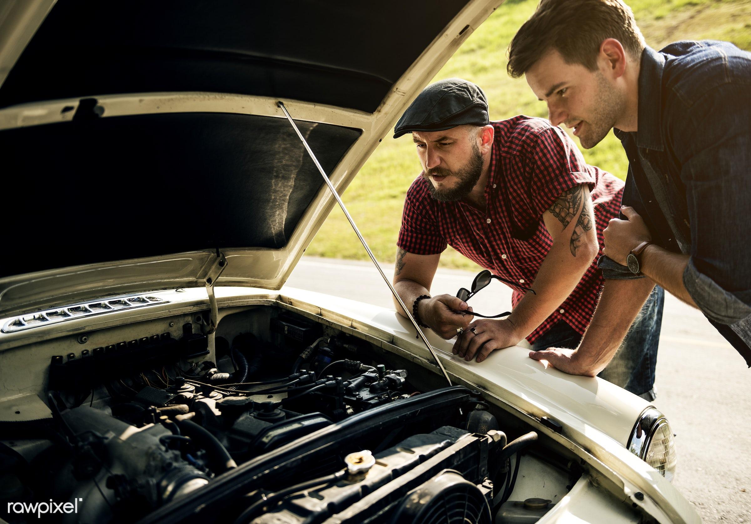 car, automobile, vehicle, street, travel, road, heat, trouble, help, transport, motor, driver, repair, men, hood, man,...