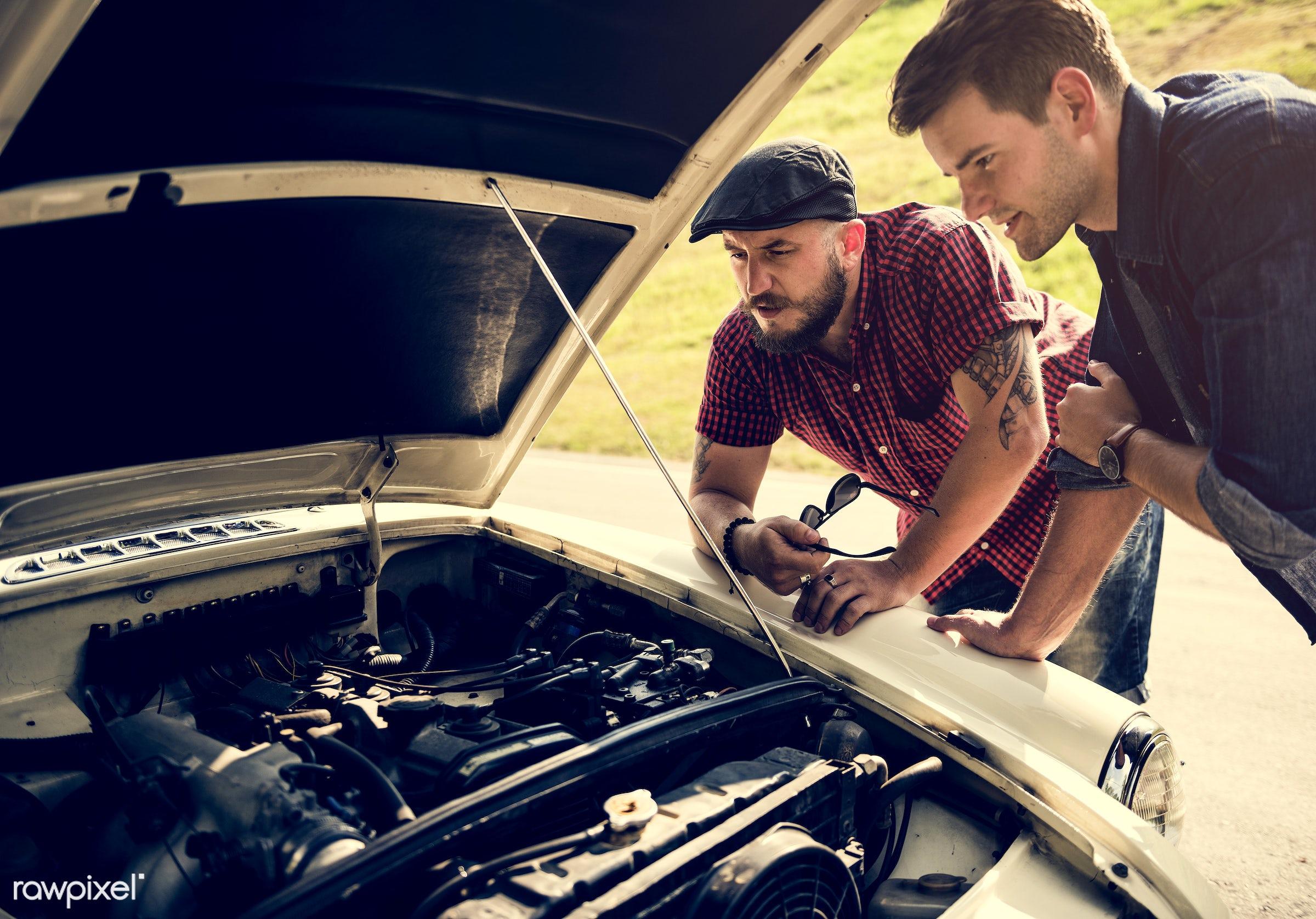 car, automobile, street, vehicle, road, travel, heat, trouble, help, transport, motor, driver, repair, men, hood, man,...