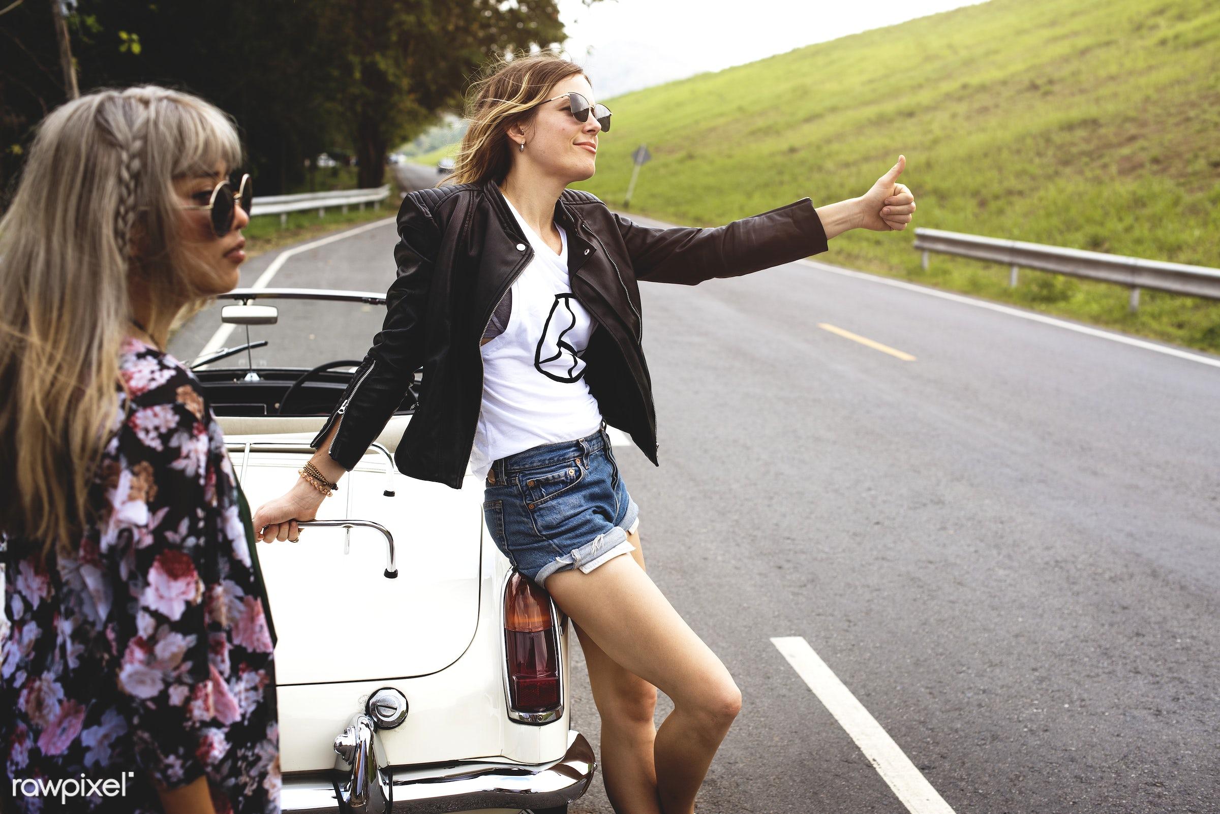 Diverse group of people enjoying a road trip and festival - street, adult, broke, car, comrade, confidant, confidante,...