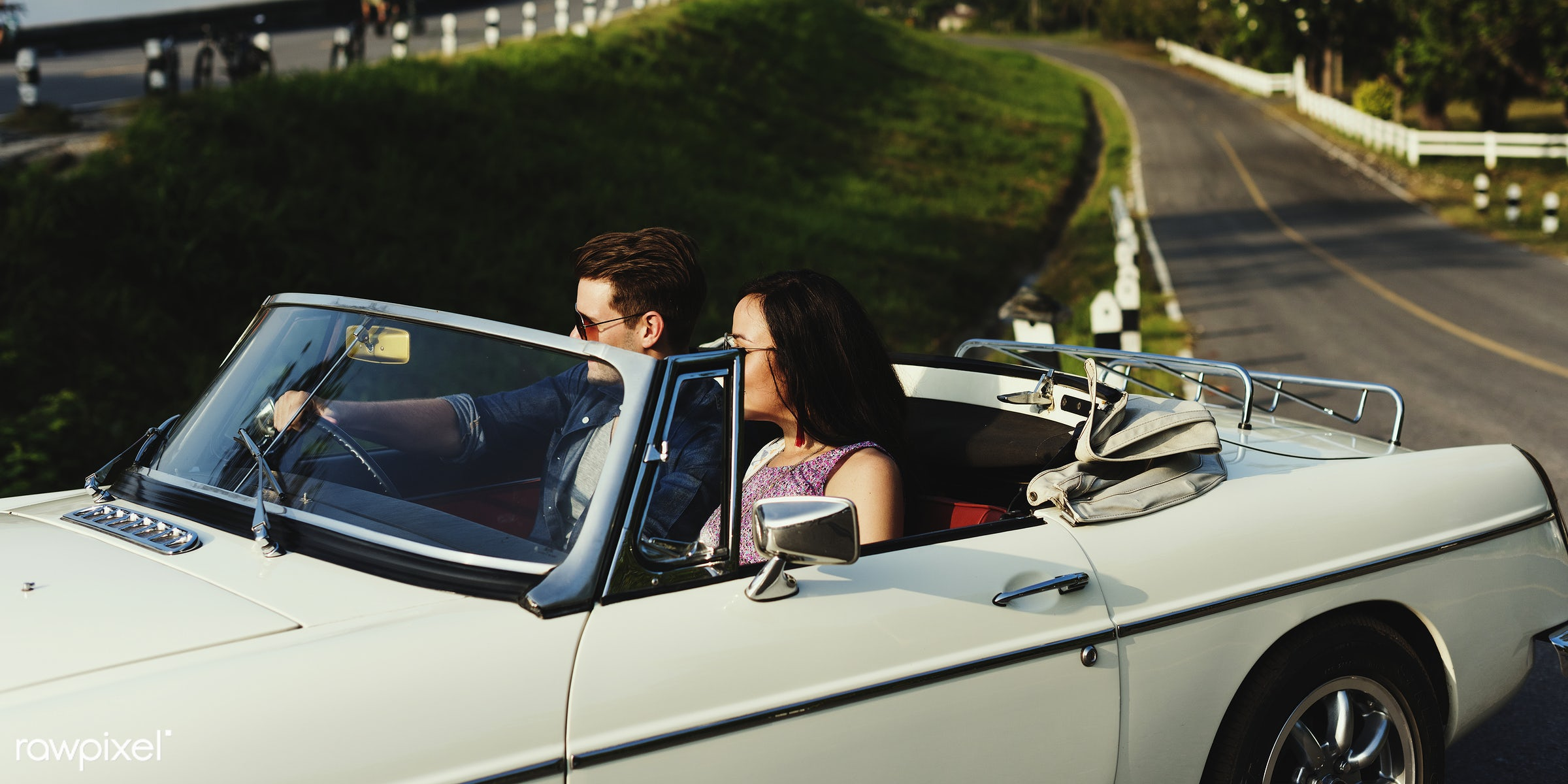 Diverse group of people enjoying a road trip and festival - romance, adult, adventure, attractive, car, couple, drive,...