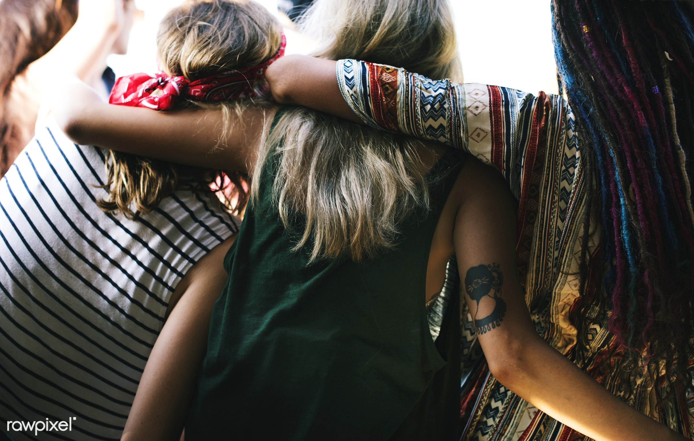 Diverse group of people enjoying a road trip and festival - wanderlust, adult, comrade, confidant, confidante, crony,...