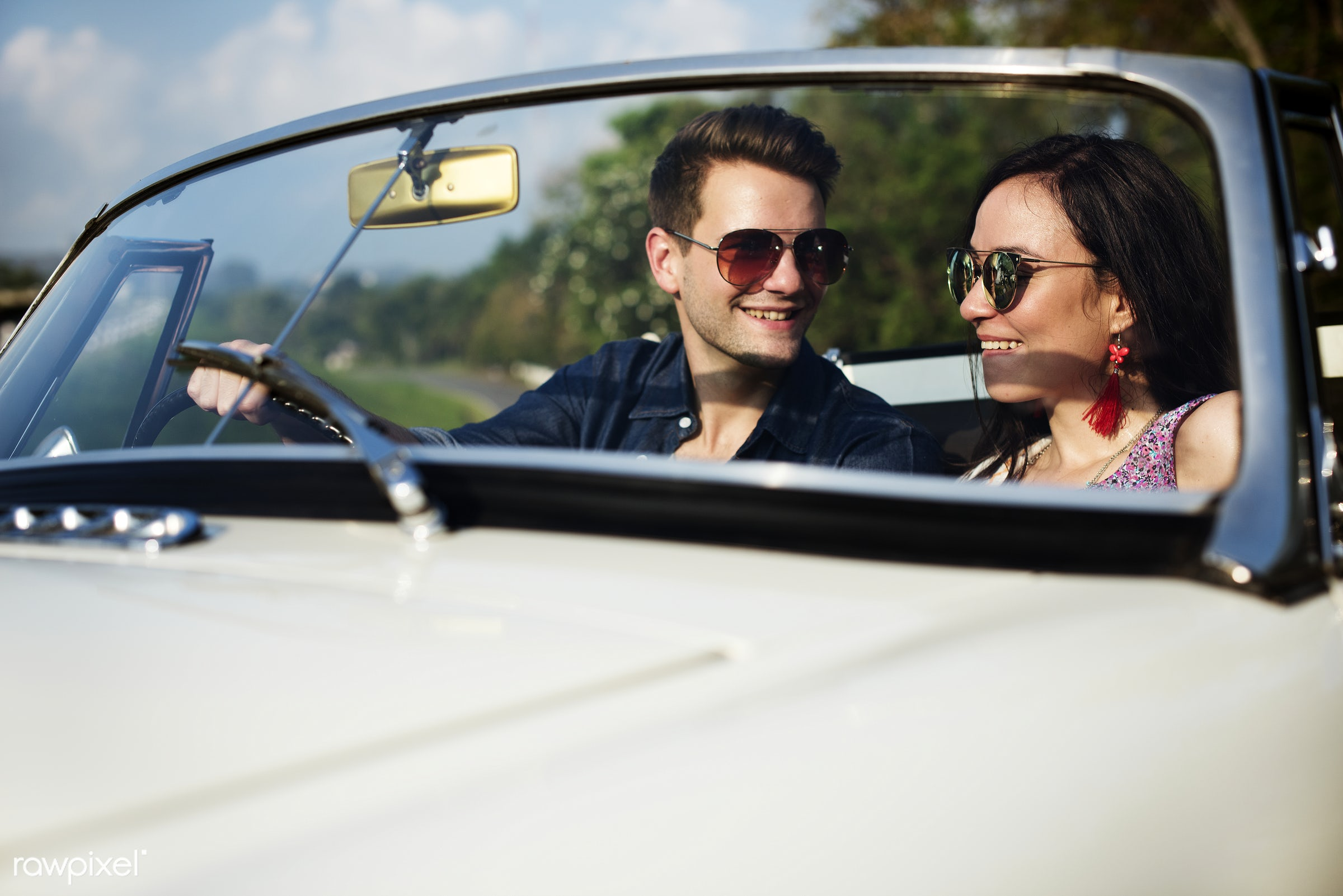 Diverse group of people enjoying a road trip and festival - life, adult, adventure, attractive, car, couple, drive, driving...