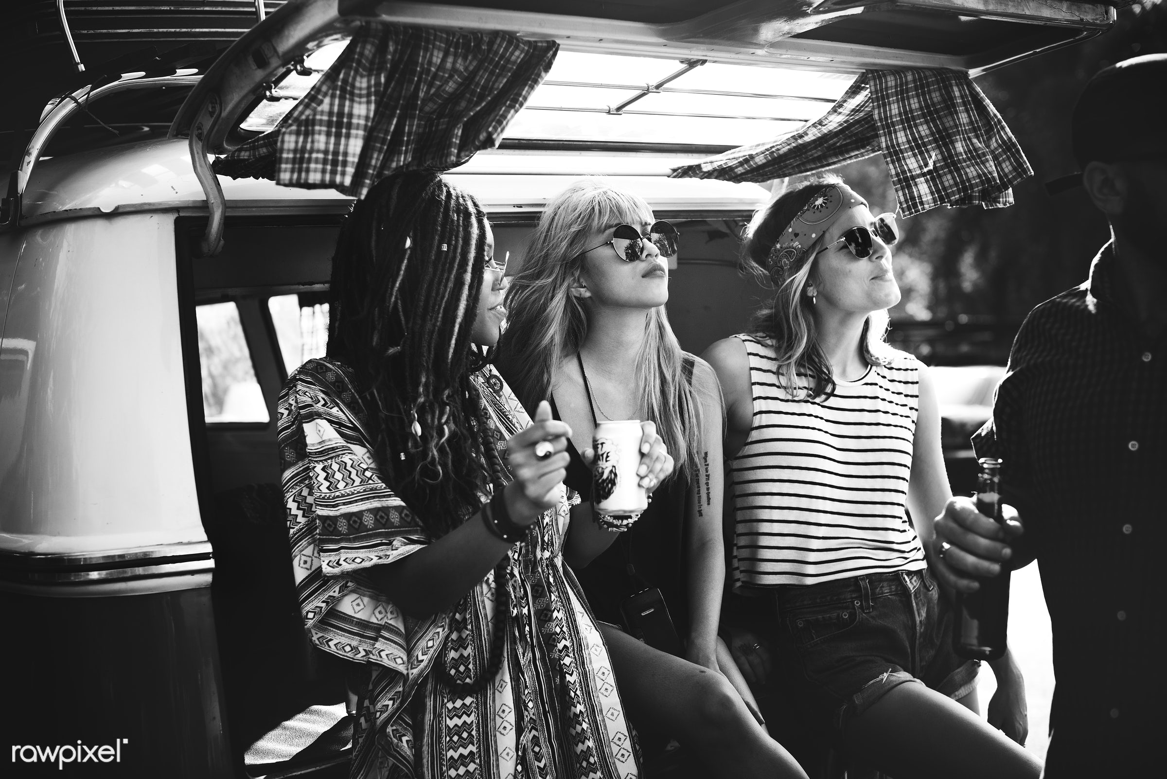 Diverse group of people enjoying a road trip and festival - person, comrade, drinking, travel, people, together, wanderlust...