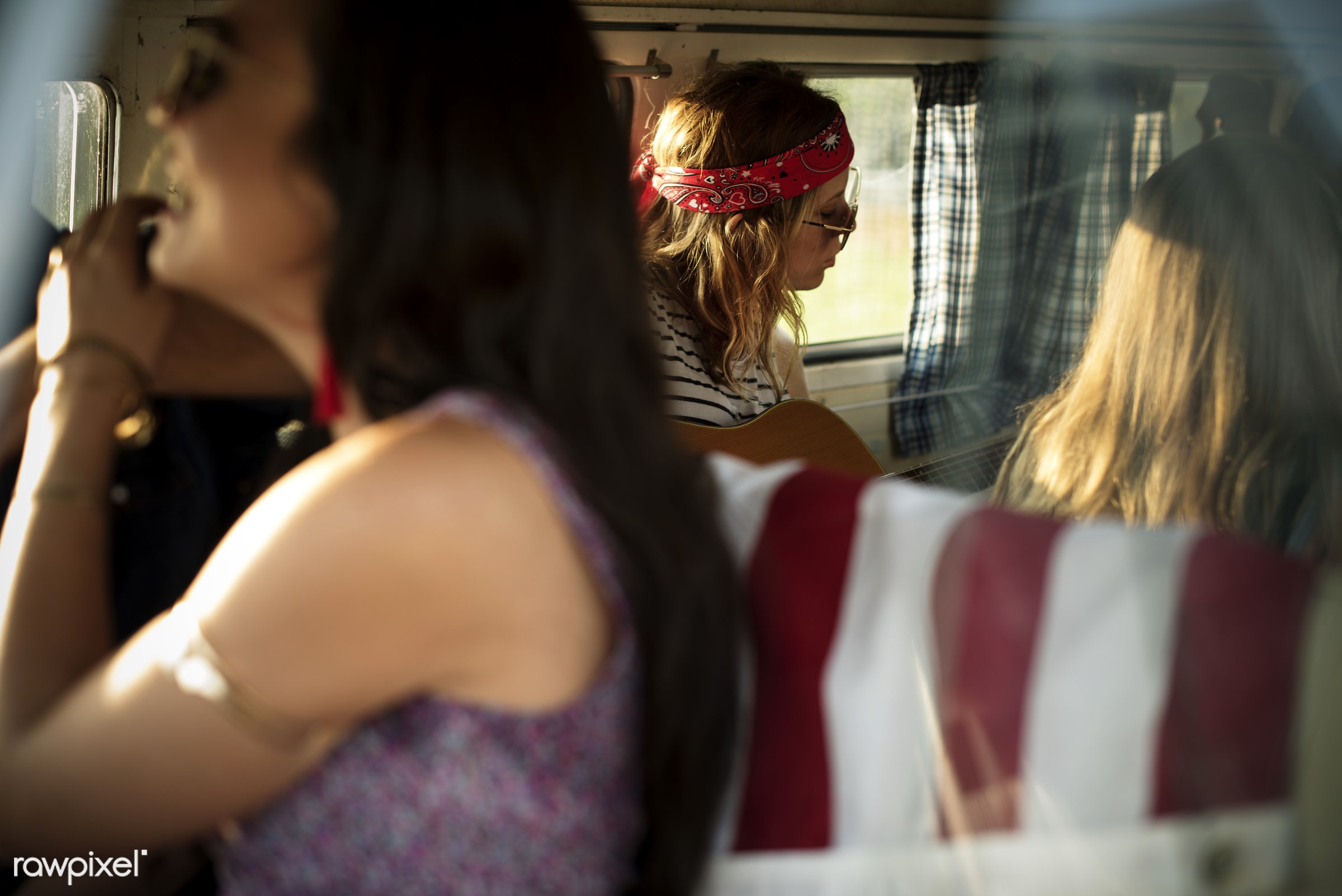 Diverse group of people enjoying a road trip and festival - person, comrade, america, american flag, travel, people,...