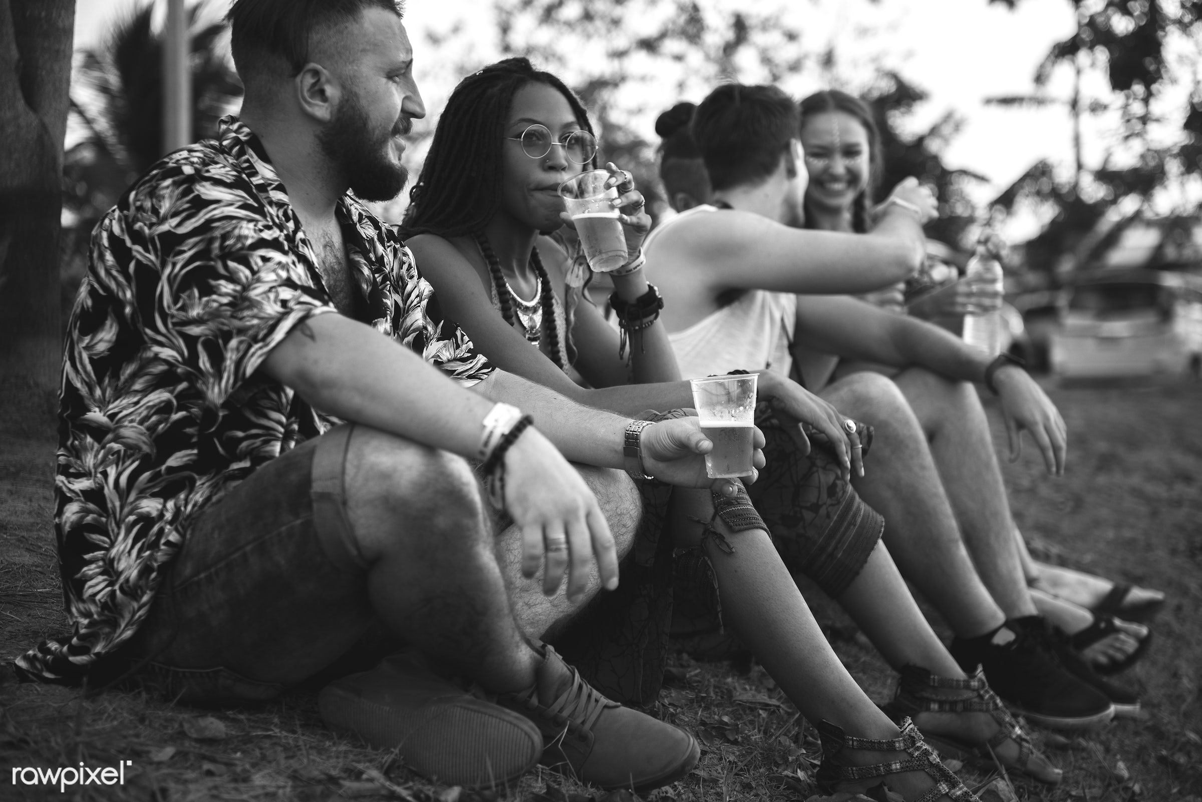 Diverse group of people enjoying a road trip and festival - crowd, activity, adults, carefree, concert, diversity, enjoying...
