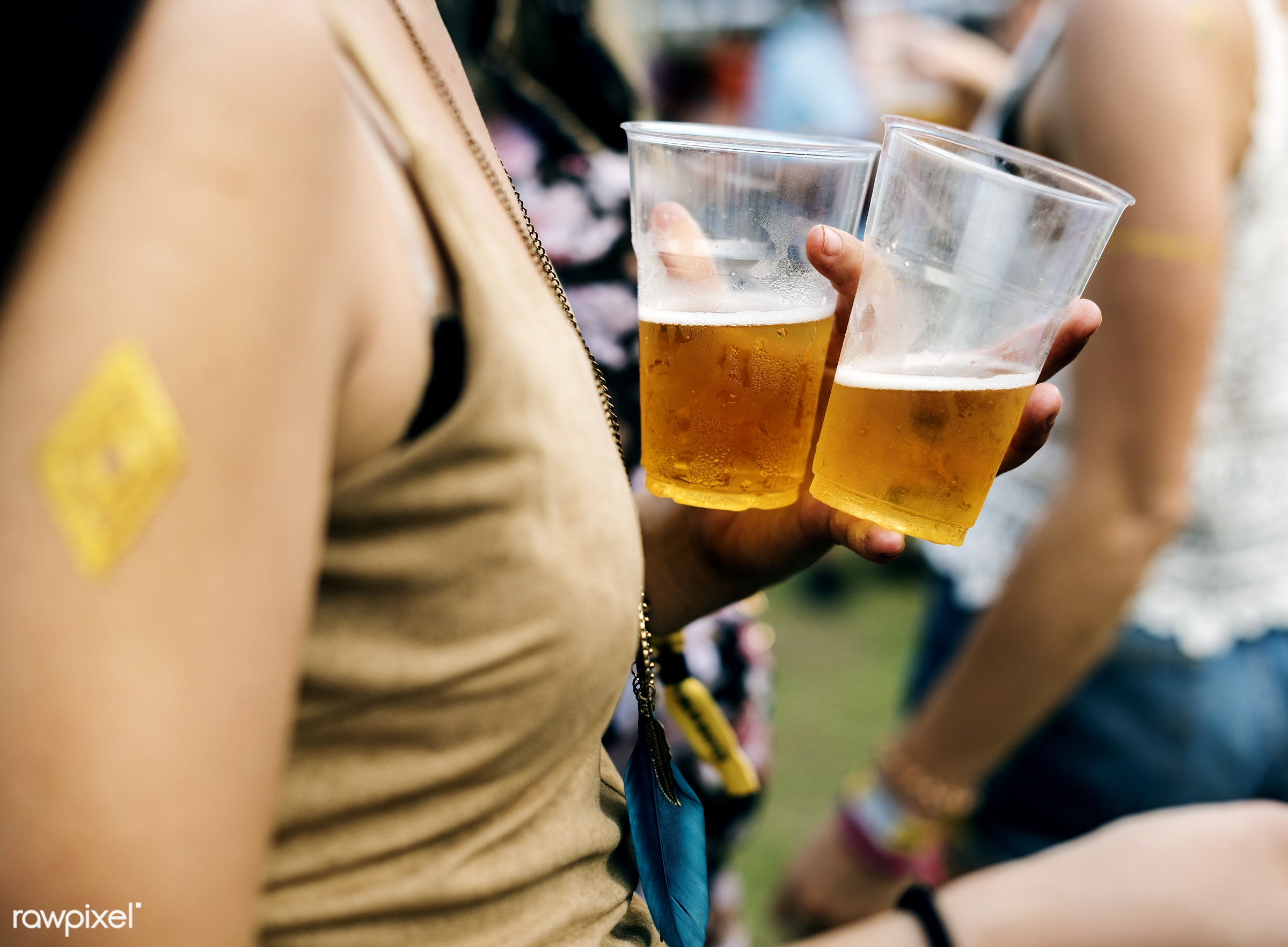 Diverse group of people enjoying a road trip and festival - beer, adult, music, activity, adults, alcohol, beverage,...