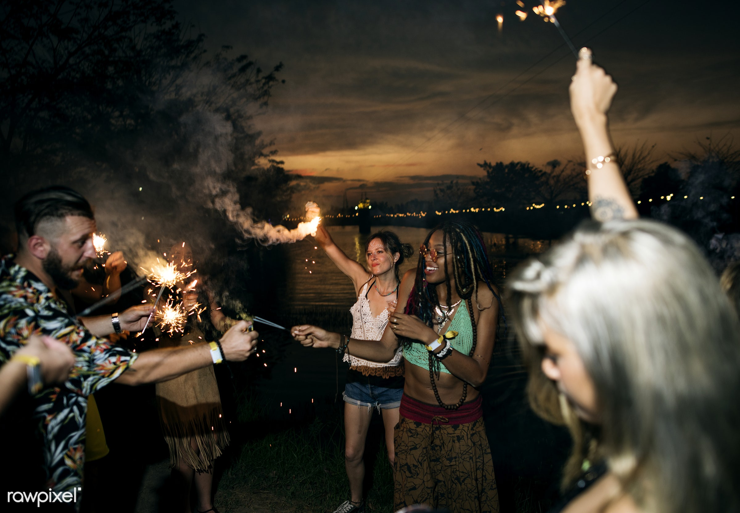 sparkler, activity, adults, carefree, concert, crowd, diversity, enjoying, enjoyment, entertainment, event, festival,...